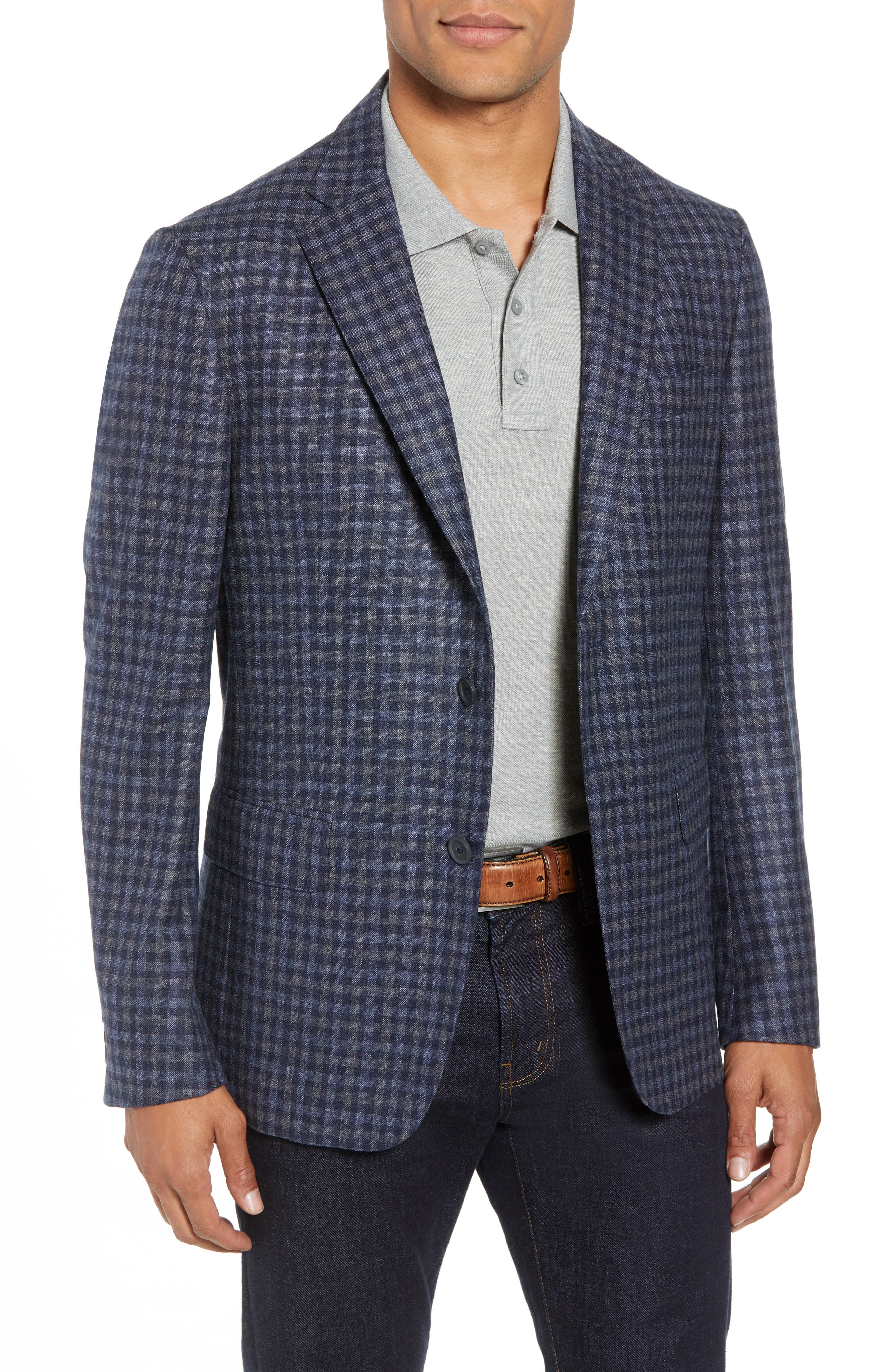 Traditional Fit Check Wool Sport Coat,                         Main,                         color, DENIM BLUE