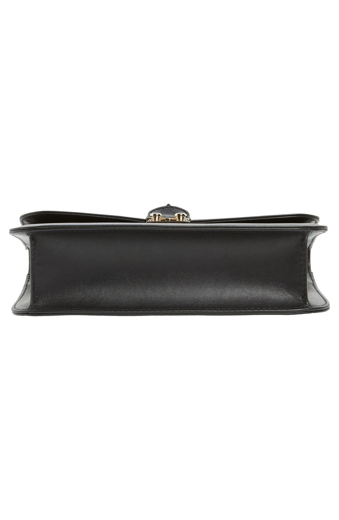 'Medium Lock' Shoulder Bag,                             Alternate thumbnail 6, color,                             NERO