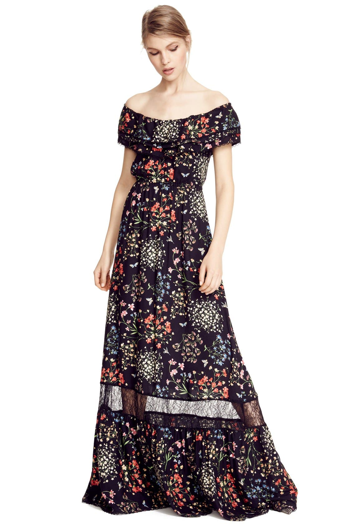 'Cheri' Floral Print Off the Shoulder Maxi Dress,                             Alternate thumbnail 4, color,                             002