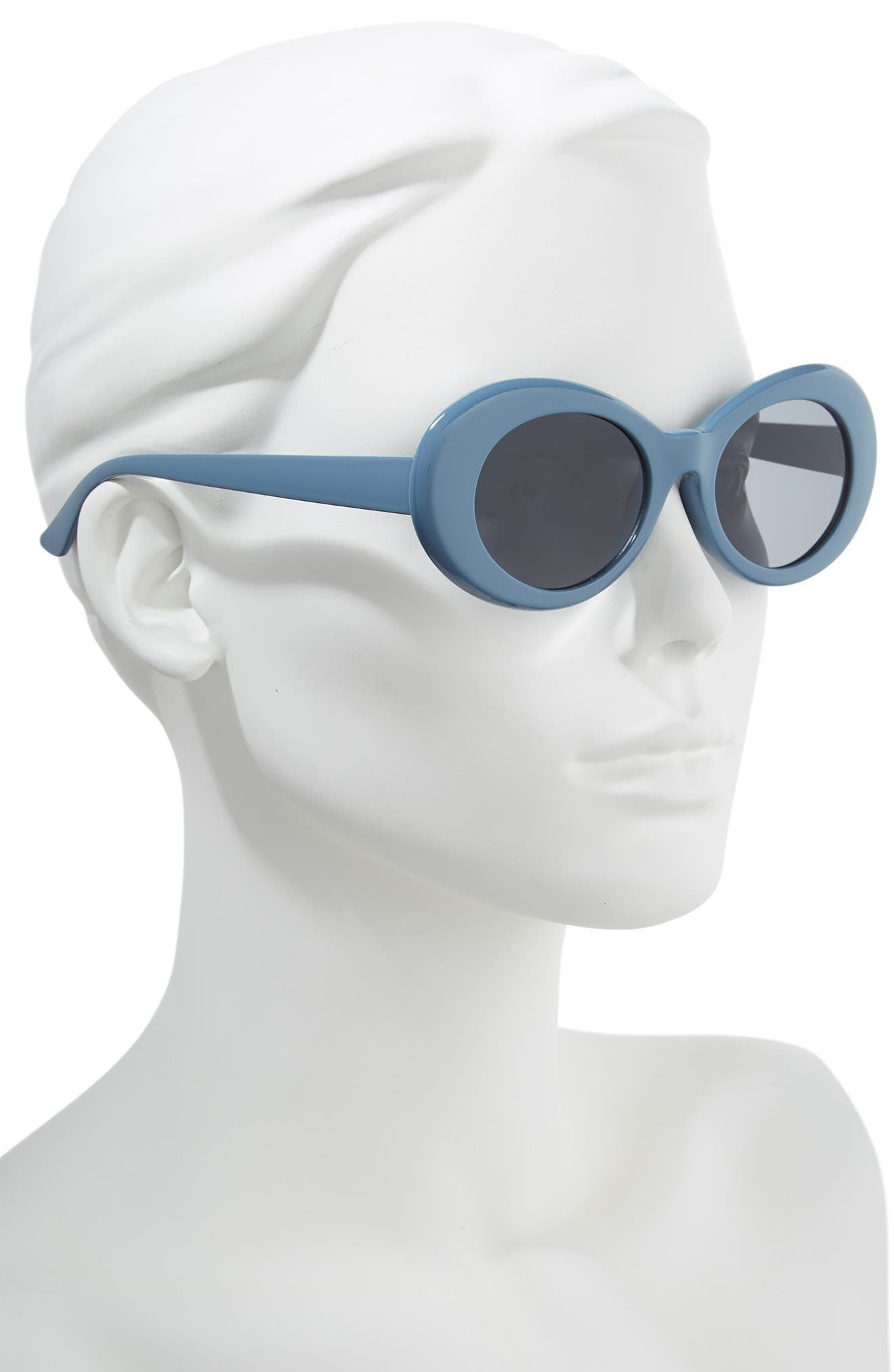 50mm Round Sunglasses,                             Alternate thumbnail 2, color,                             MARINE BLUE