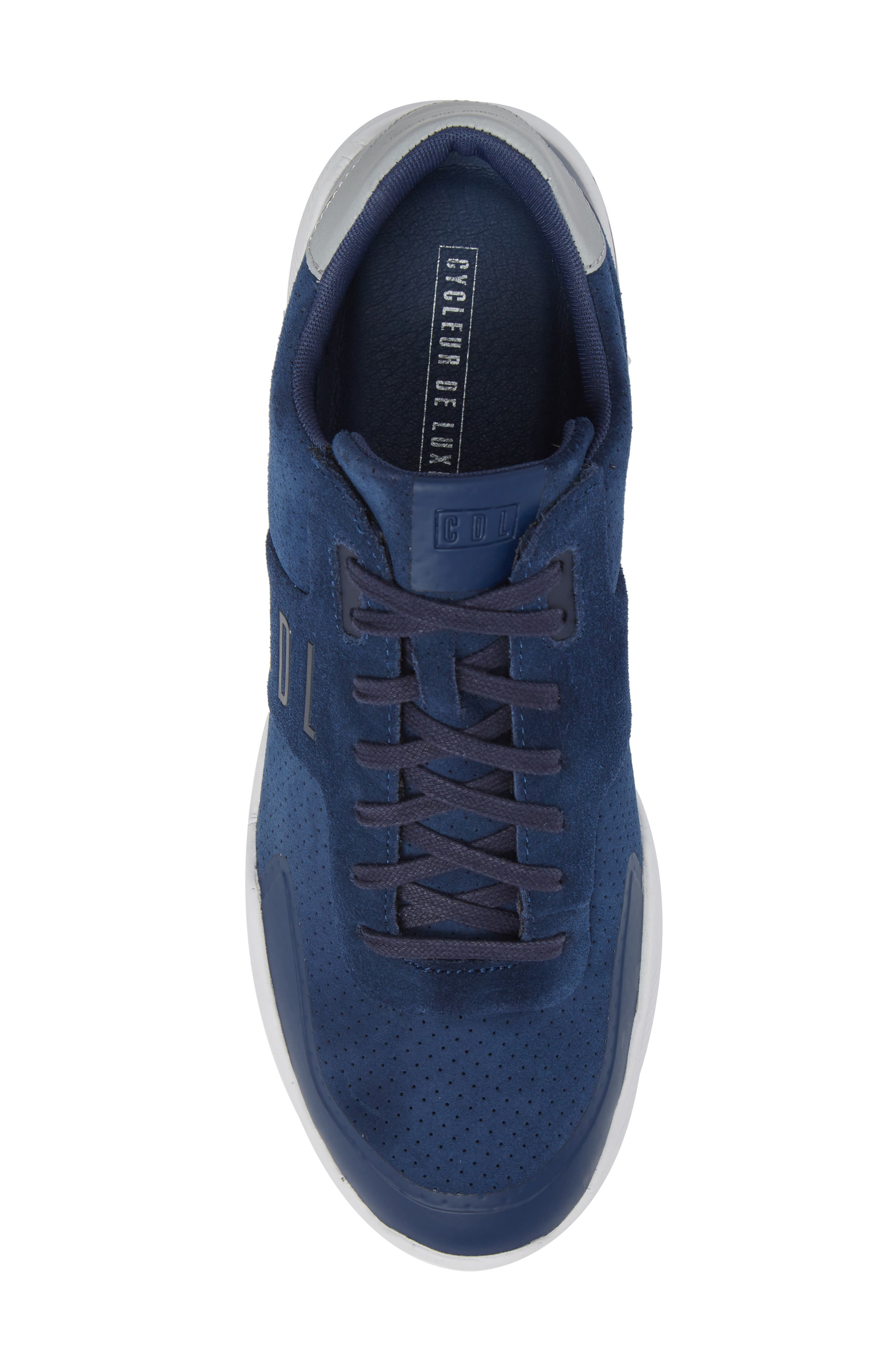 Shima Low Top Sneaker,                             Alternate thumbnail 5, color,                             NAVY SUEDE