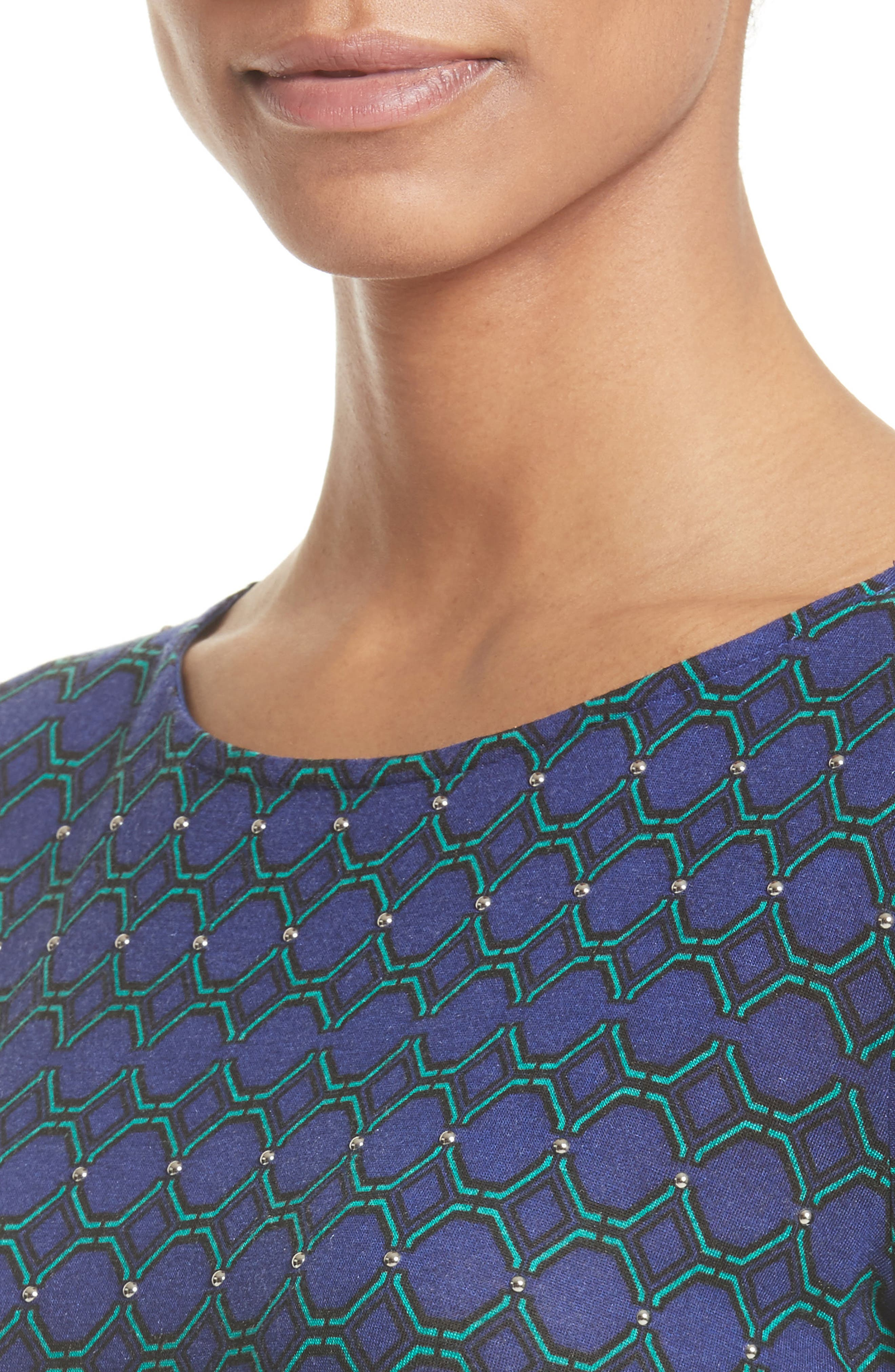Chain Link Print Jersey Top,                             Alternate thumbnail 4, color,                             410