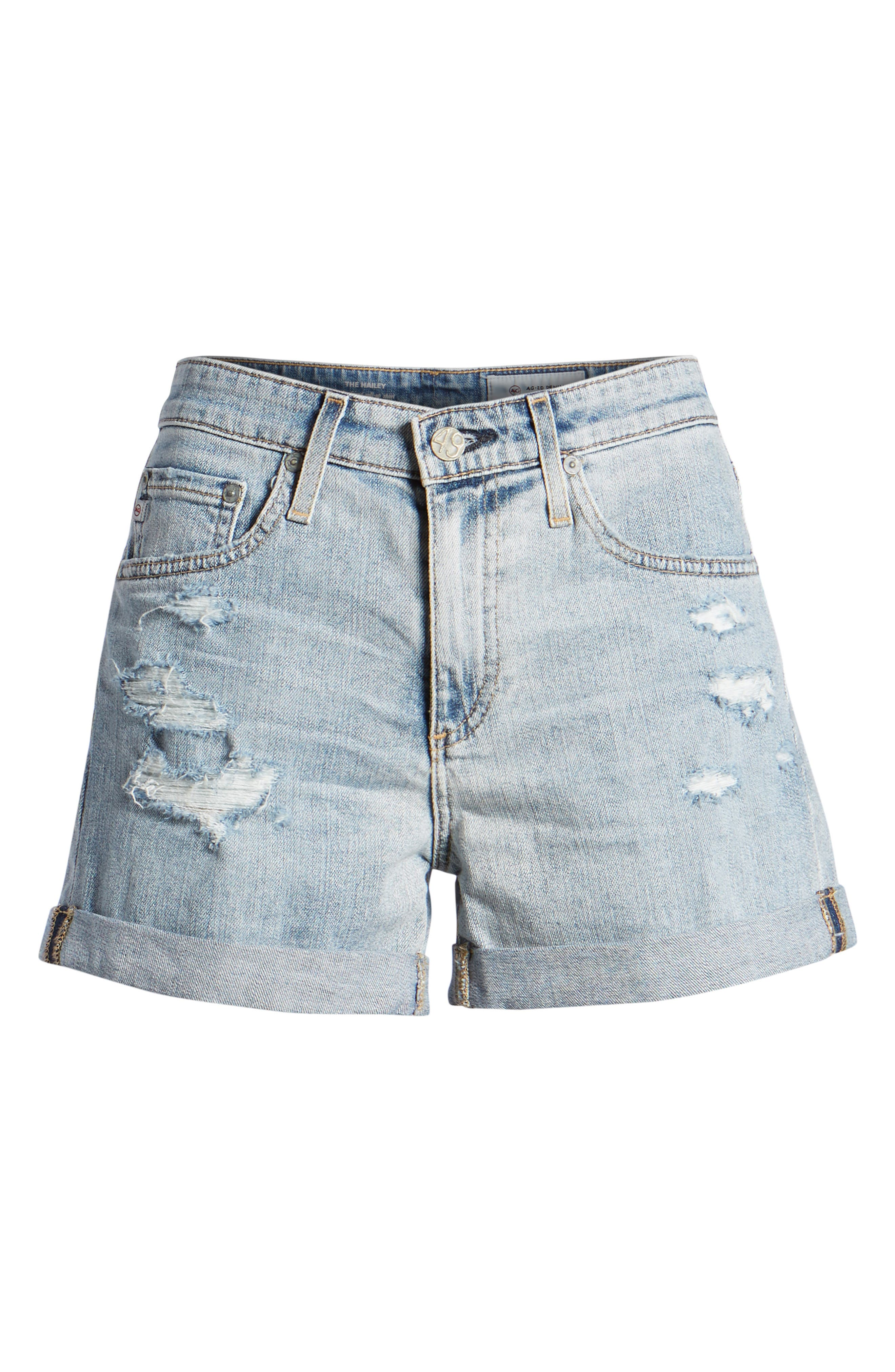 Hailey High Waist Cuff Denim Shorts,                             Alternate thumbnail 7, color,                             21 YRS-REFLECTION DESTRUCTED