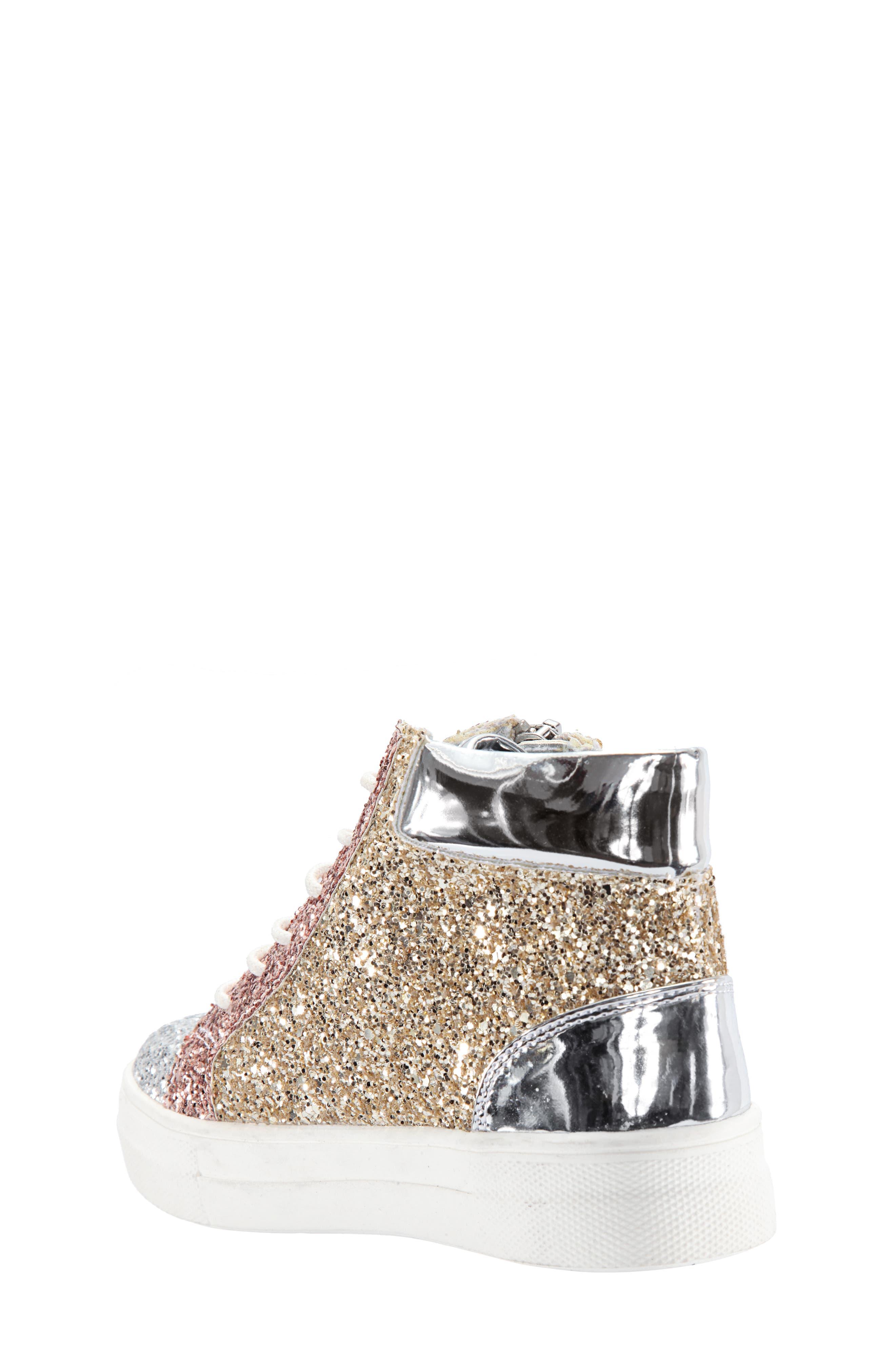 Hylda Glitter High Top Sneaker,                             Alternate thumbnail 2, color,                             SILVER MULTI GLITTER/ PATENT