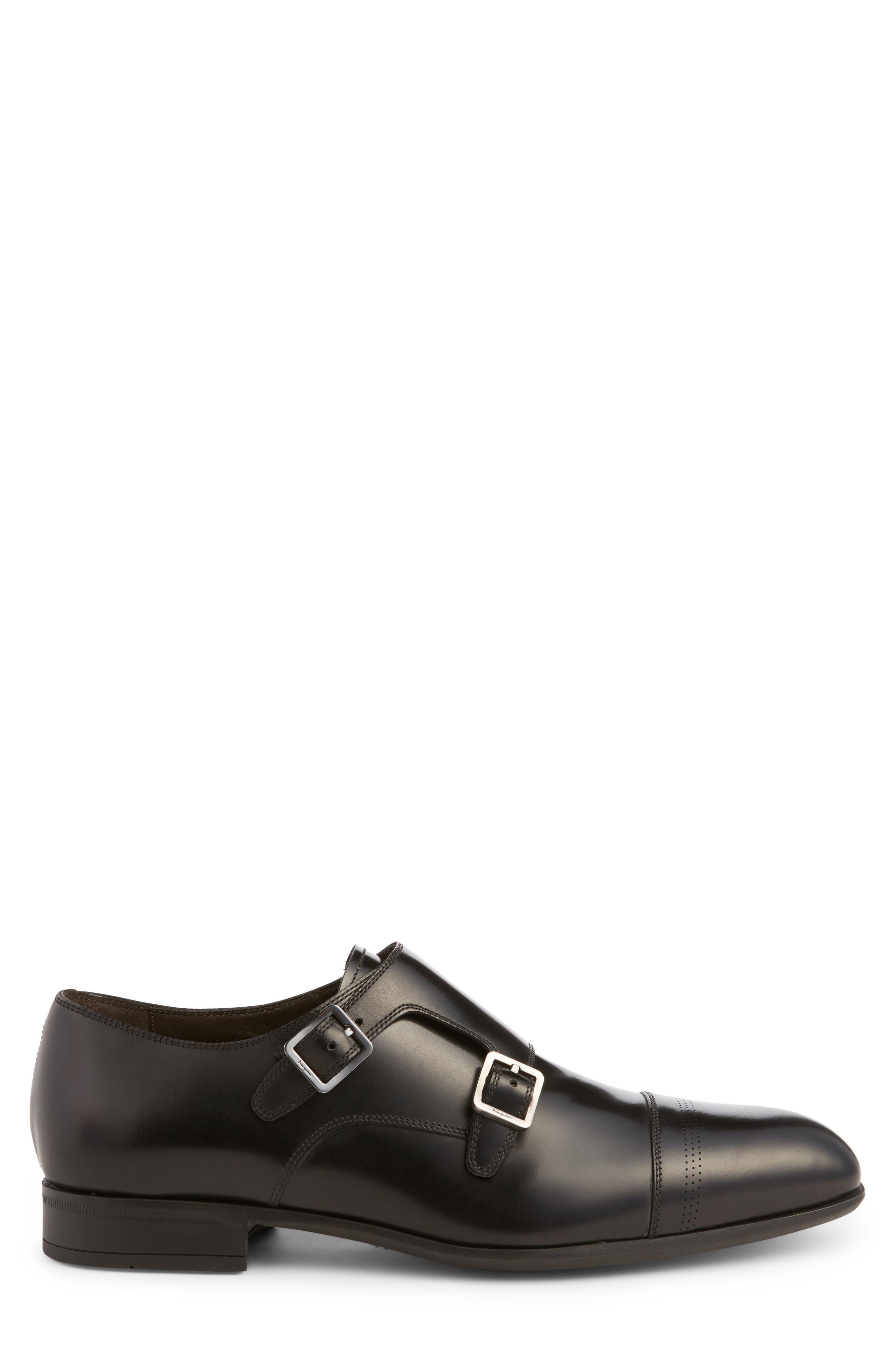 Defoe Double Monk Strap Shoe,                             Alternate thumbnail 3, color,                             001