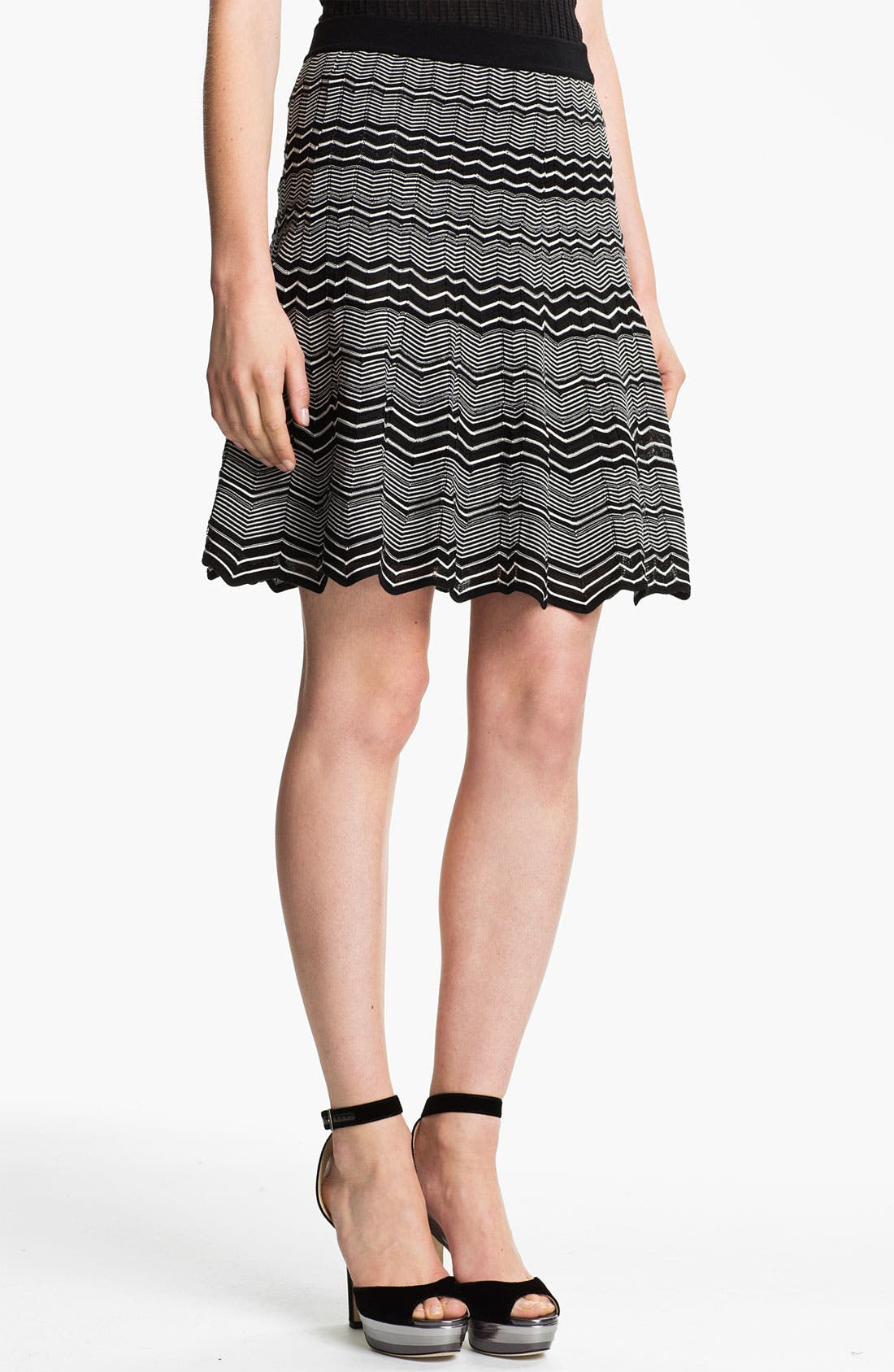 Micro Zigzag Pleat Skirt,                             Main thumbnail 1, color,                             001