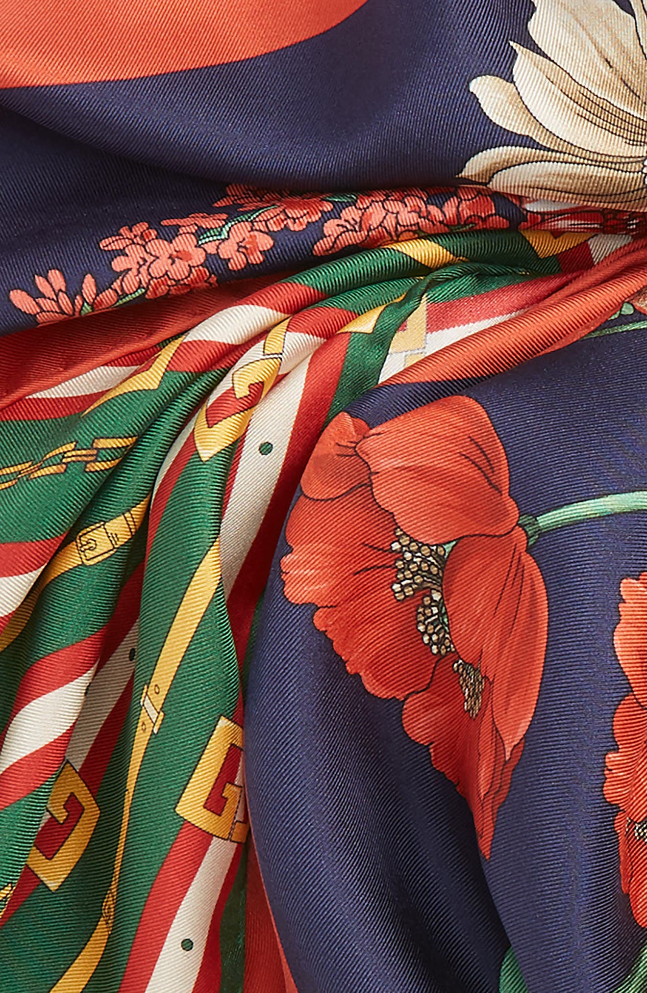 Bouquet Chain Silk Twill Scarf,                             Alternate thumbnail 4, color,                             NAVY/ DARK GREEN