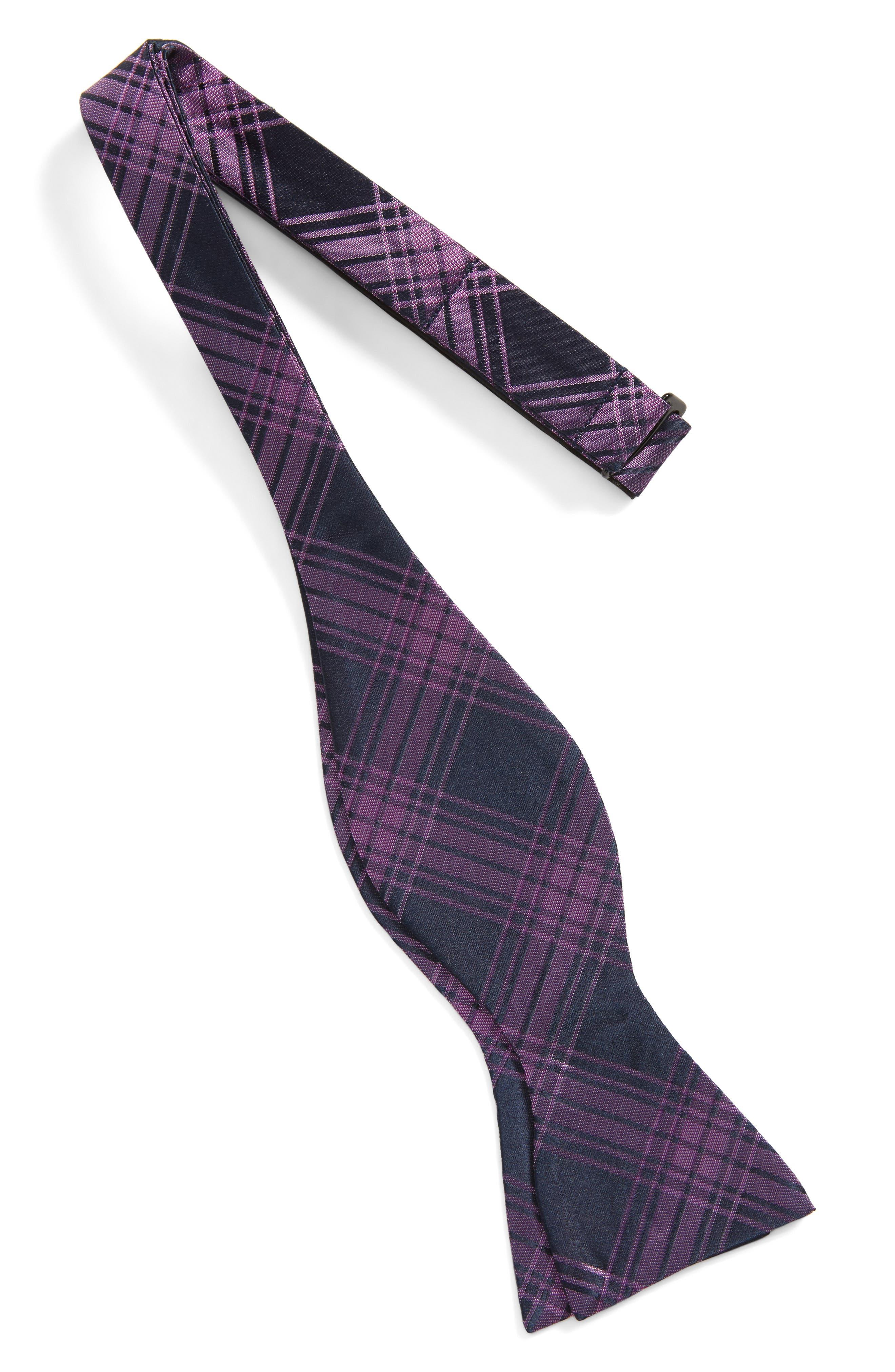 Windowpane Silk Bow Tie,                             Alternate thumbnail 3, color,
