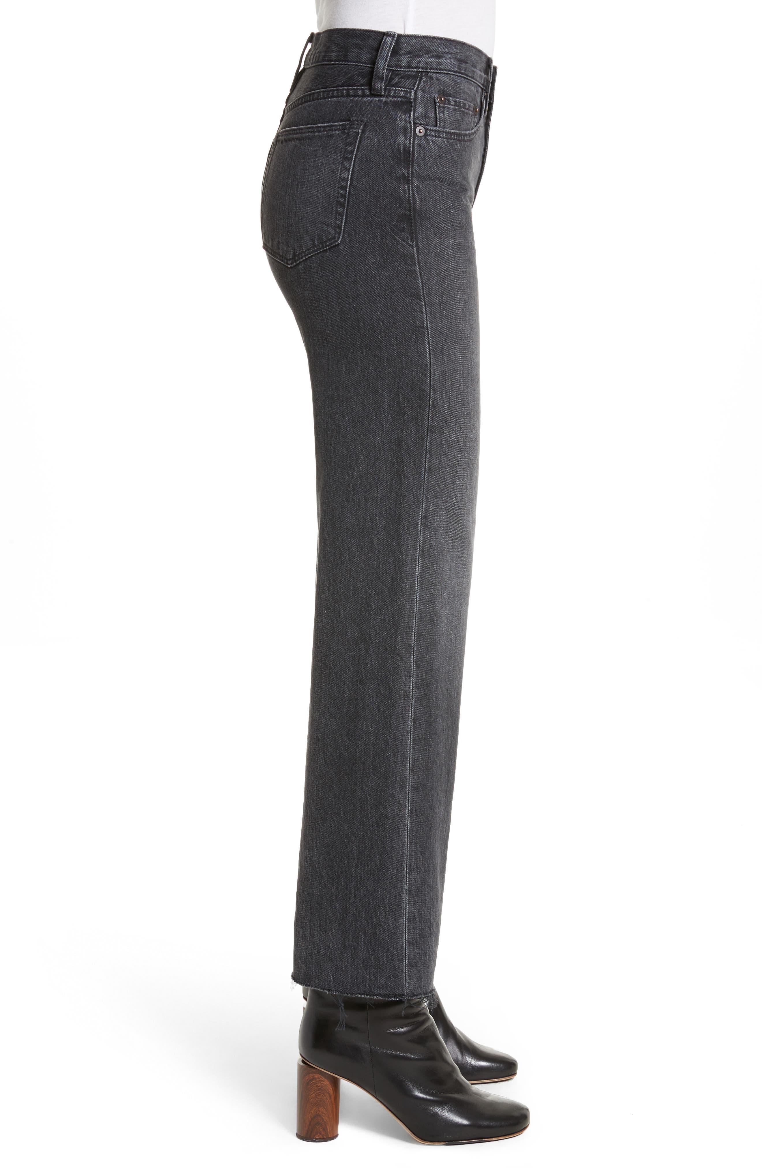Tilson Crop Frayed Wide Leg Jeans,                             Alternate thumbnail 3, color,                             001