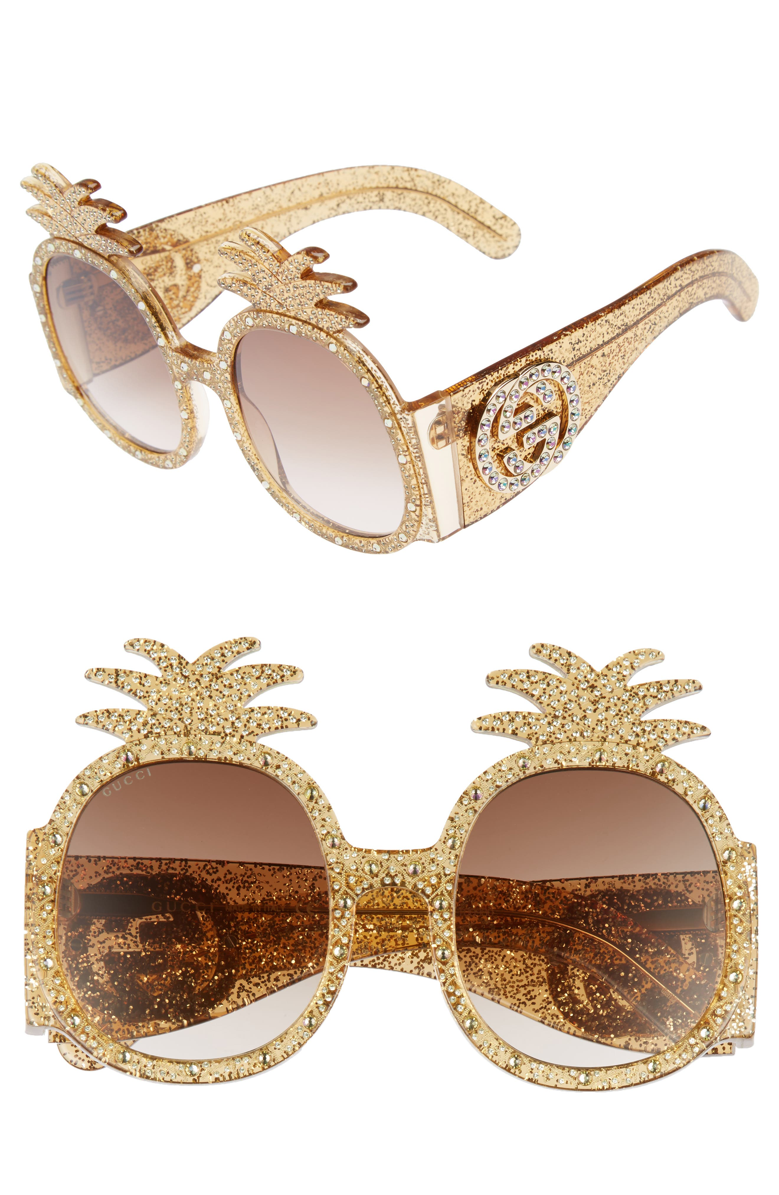 53mm Pineapple Sunglasses,                             Main thumbnail 1, color,                             GOLD