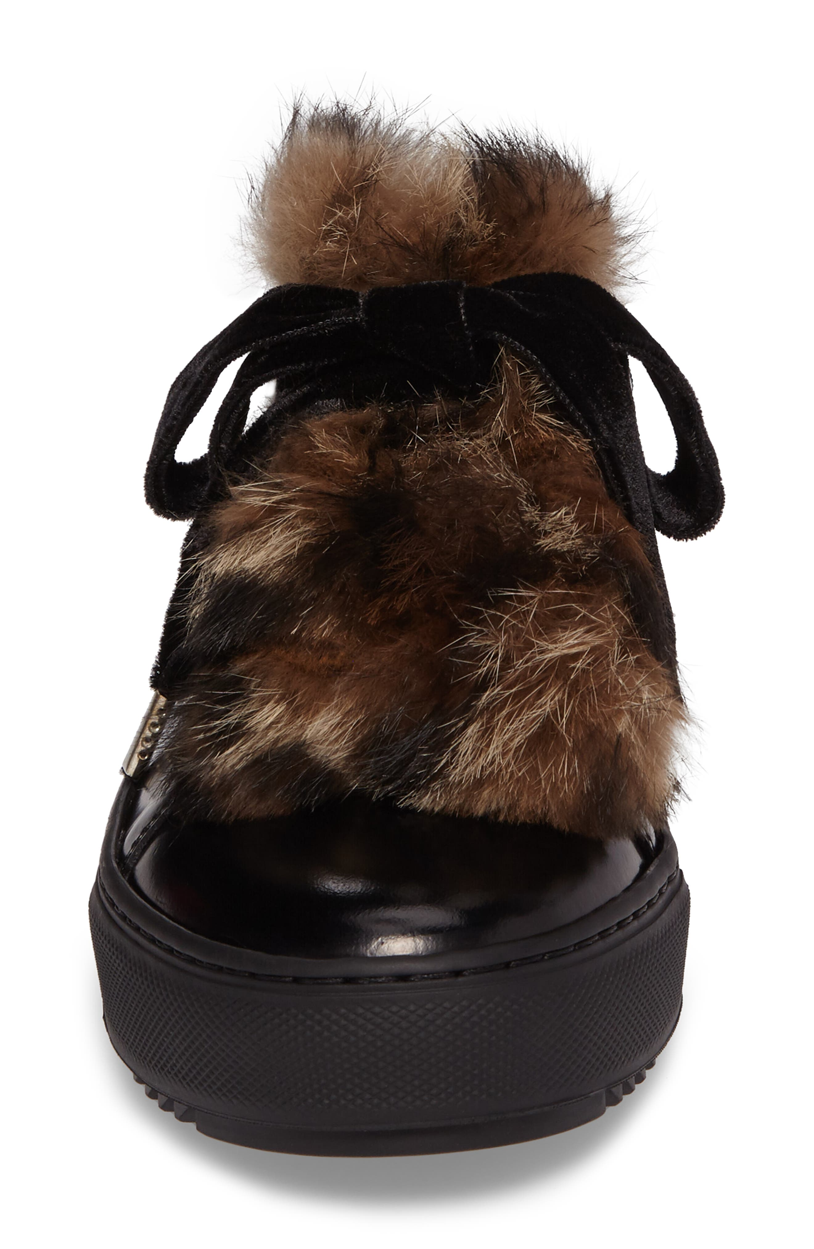 Fluff Genuine Rabbit Fur Sneaker,                             Alternate thumbnail 4, color,                             001