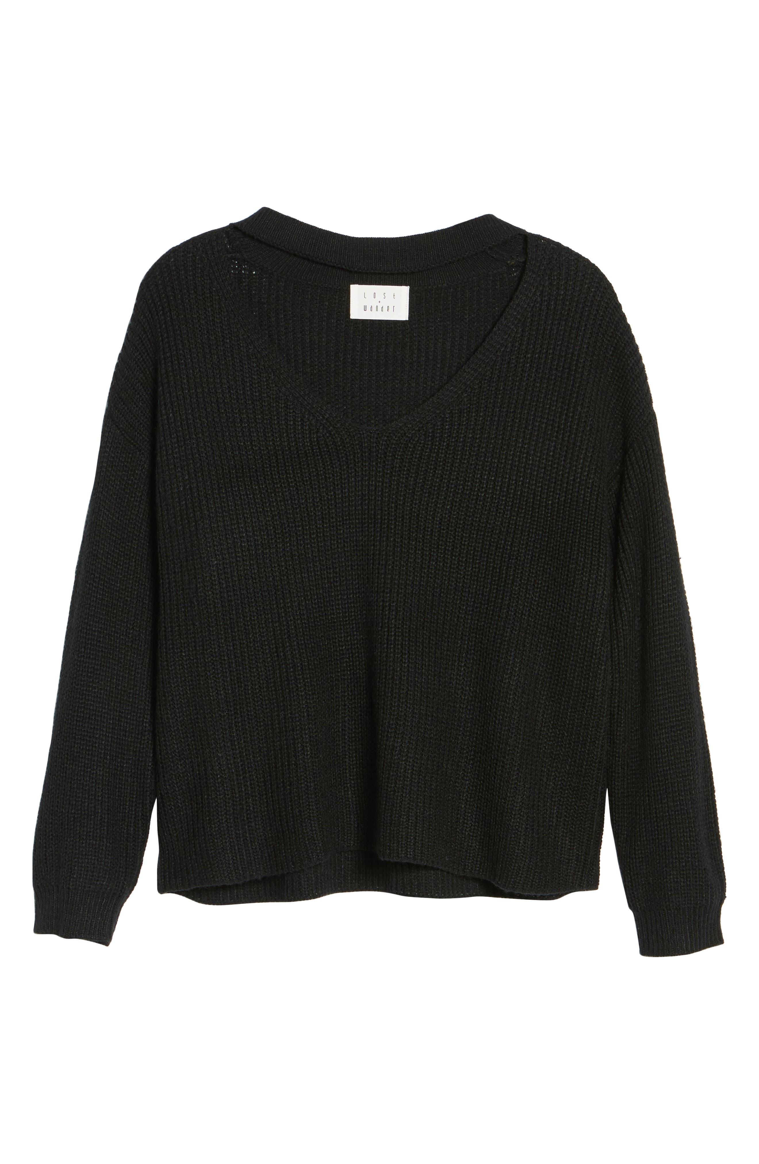 Madison Cutout Sweater,                             Alternate thumbnail 6, color,                             001