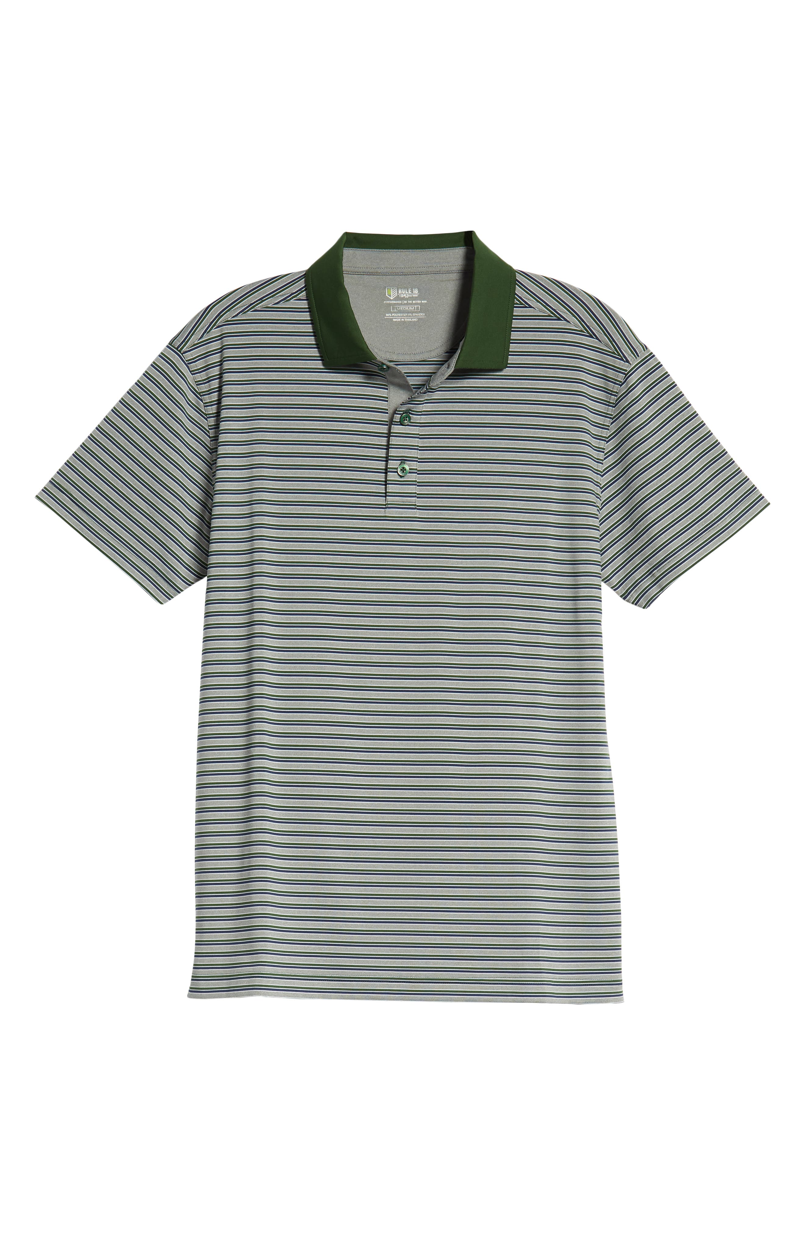 Rule 18 Stripe Tech Jersey Polo,                             Alternate thumbnail 6, color,                             GREEN