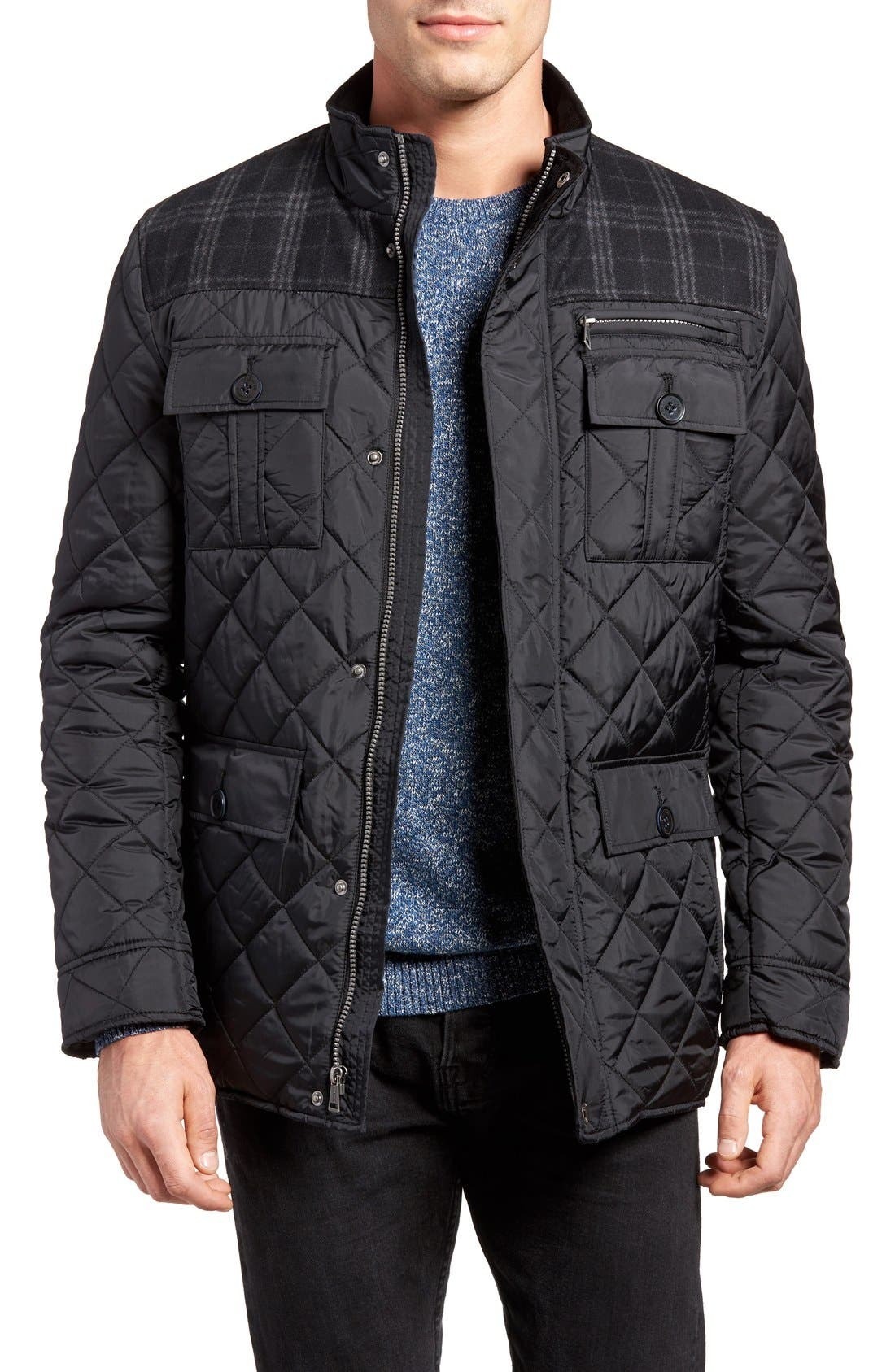 Mixed Media Quilted Jacket,                             Main thumbnail 1, color,                             001