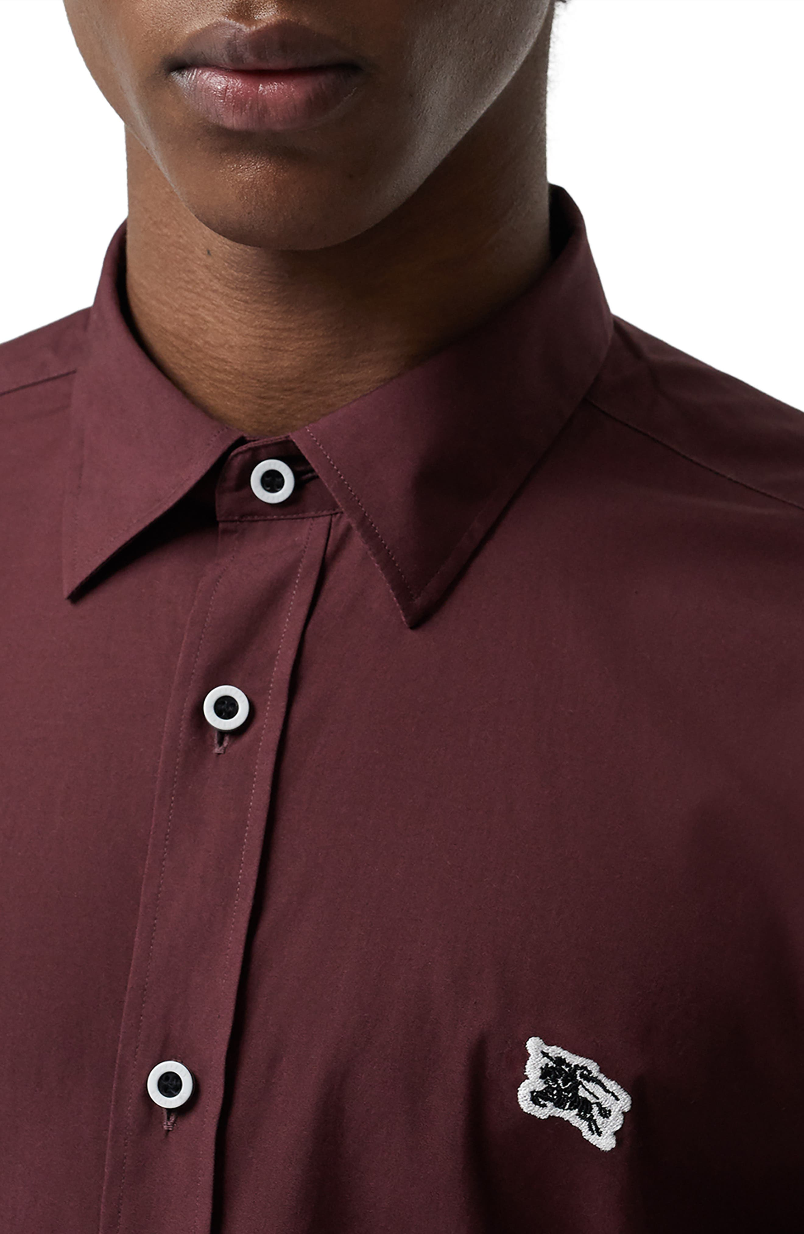 BURBERRY,                             William Sport Shirt,                             Alternate thumbnail 2, color,                             OXBLOOD