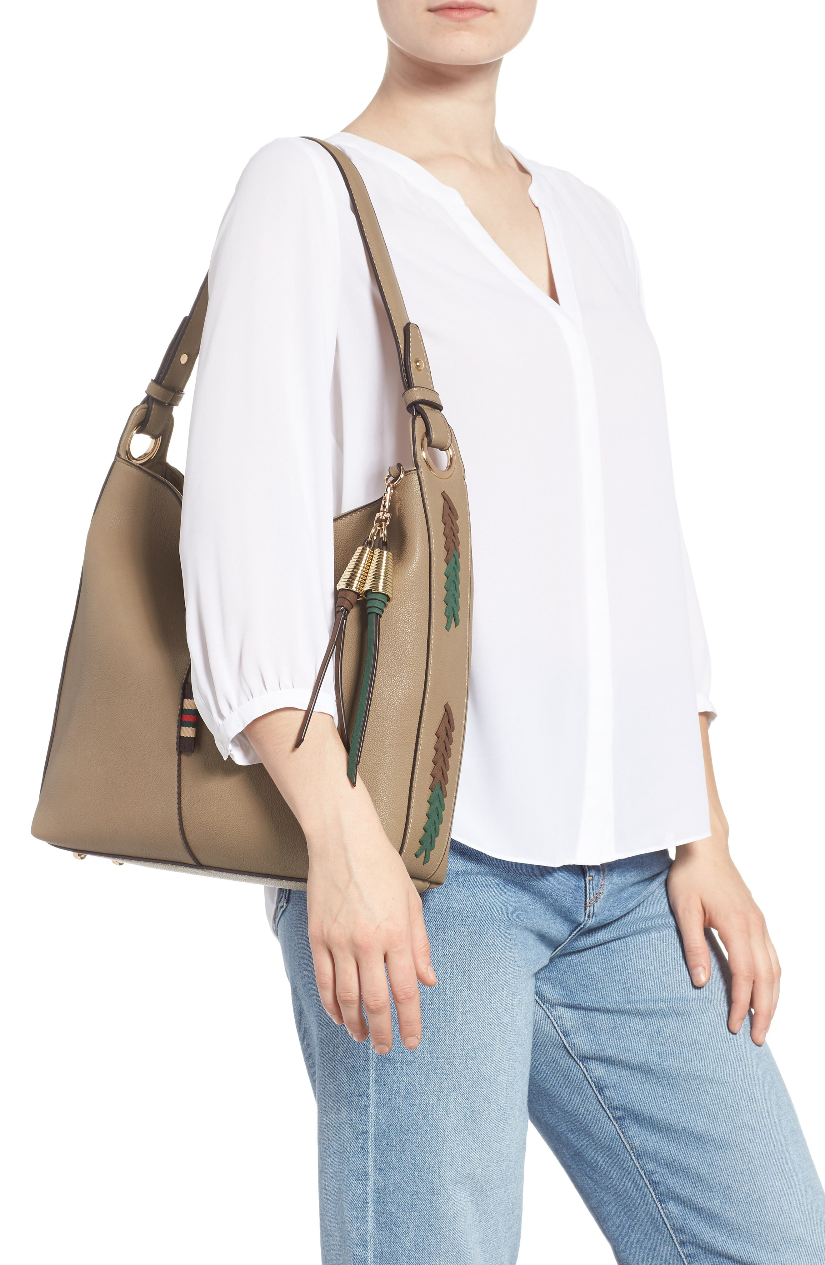 Faux Leather Hobo,                             Alternate thumbnail 2, color,                             TAUPE