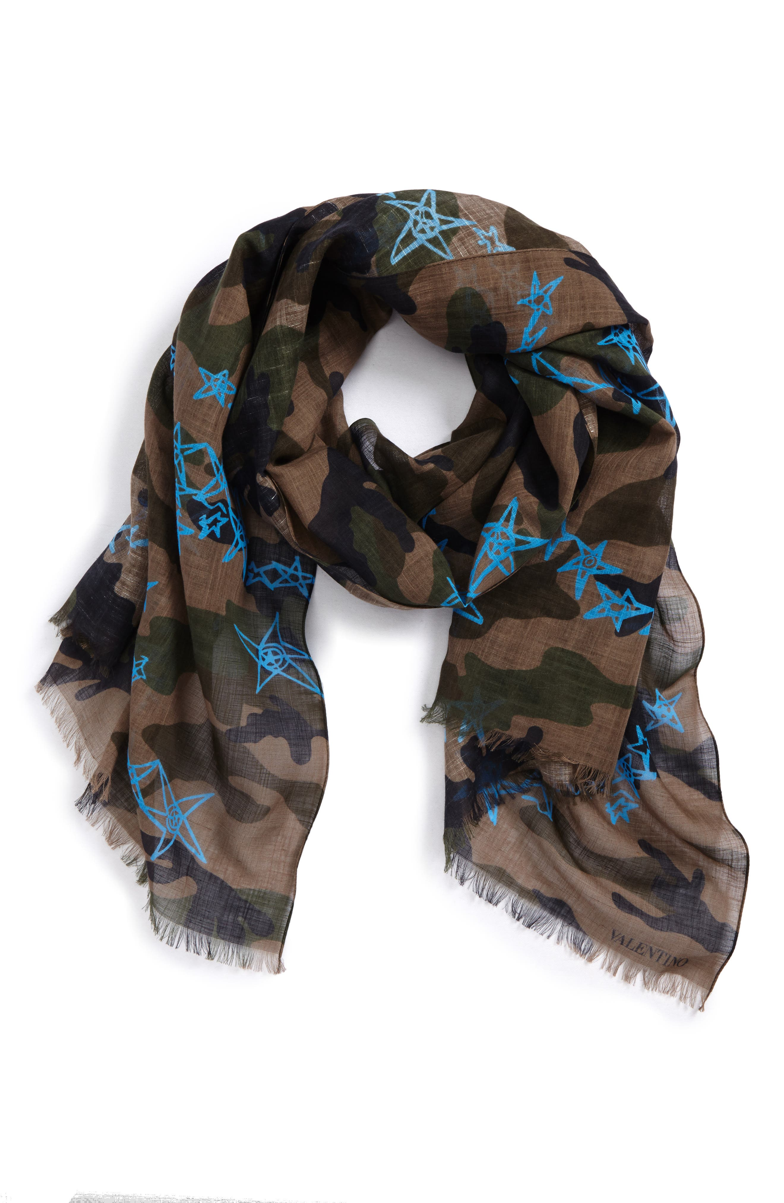 Camo Stars Cotton & Linen Scarf,                             Main thumbnail 1, color,                             ARMY