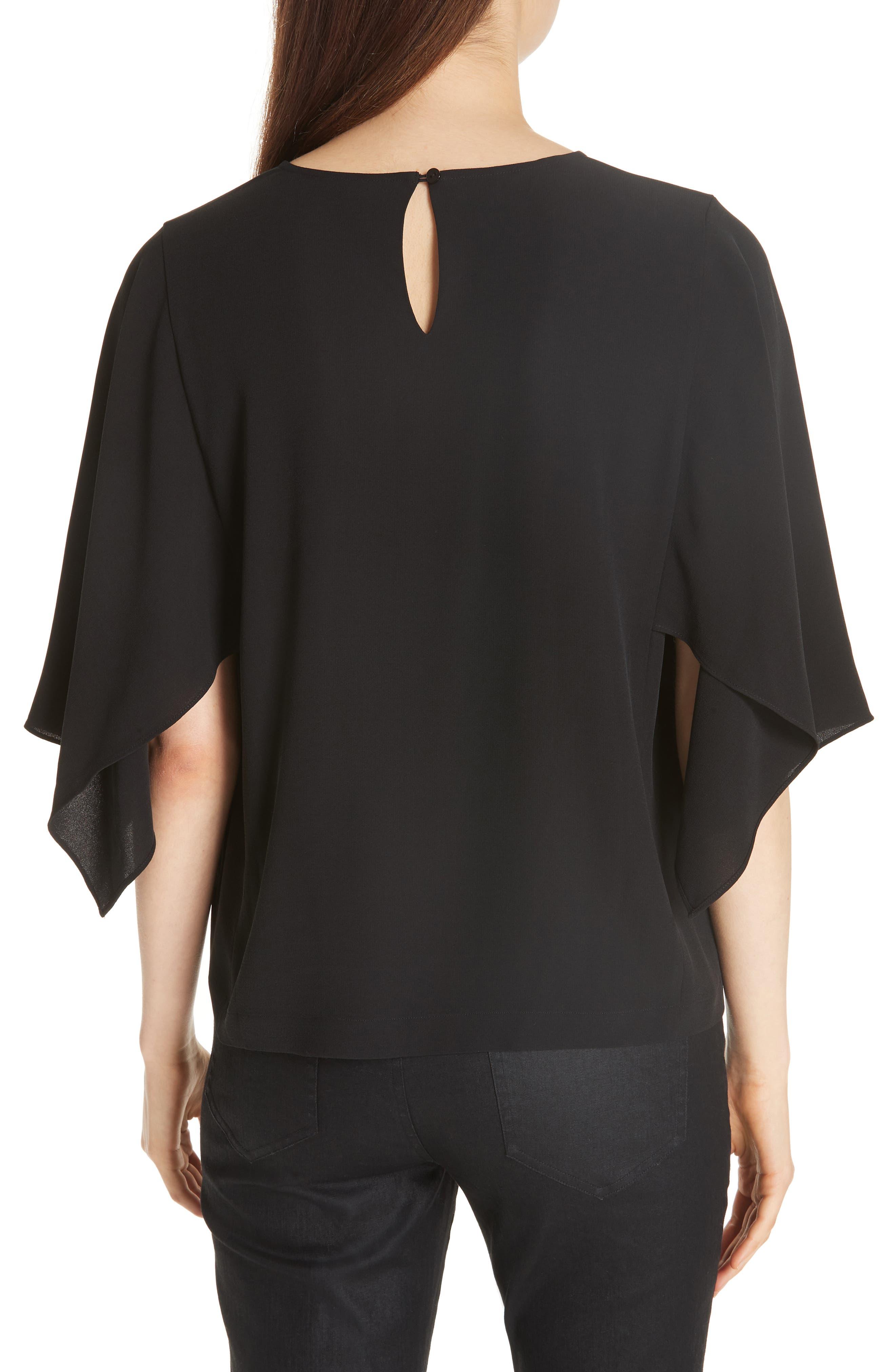 Slit Sleeve Silk Top,                             Alternate thumbnail 2, color,                             BLACK