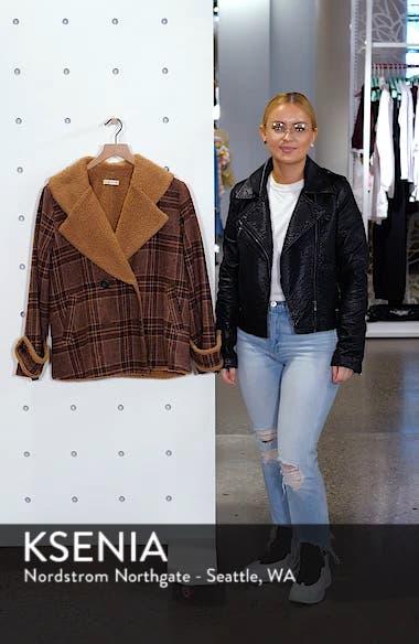 Faux Shearling Trim Plaid Jacket, sales video thumbnail
