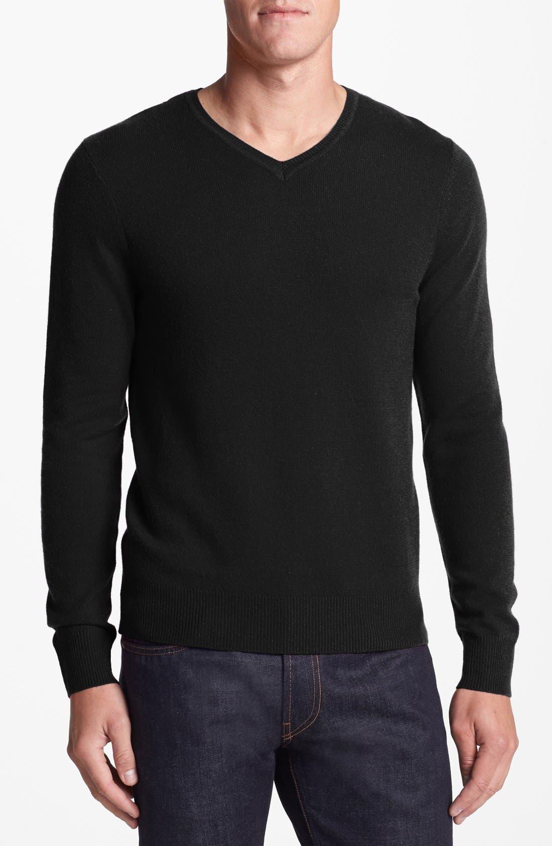 Cashmere V-Neck Sweater,                             Main thumbnail 1, color,                             001
