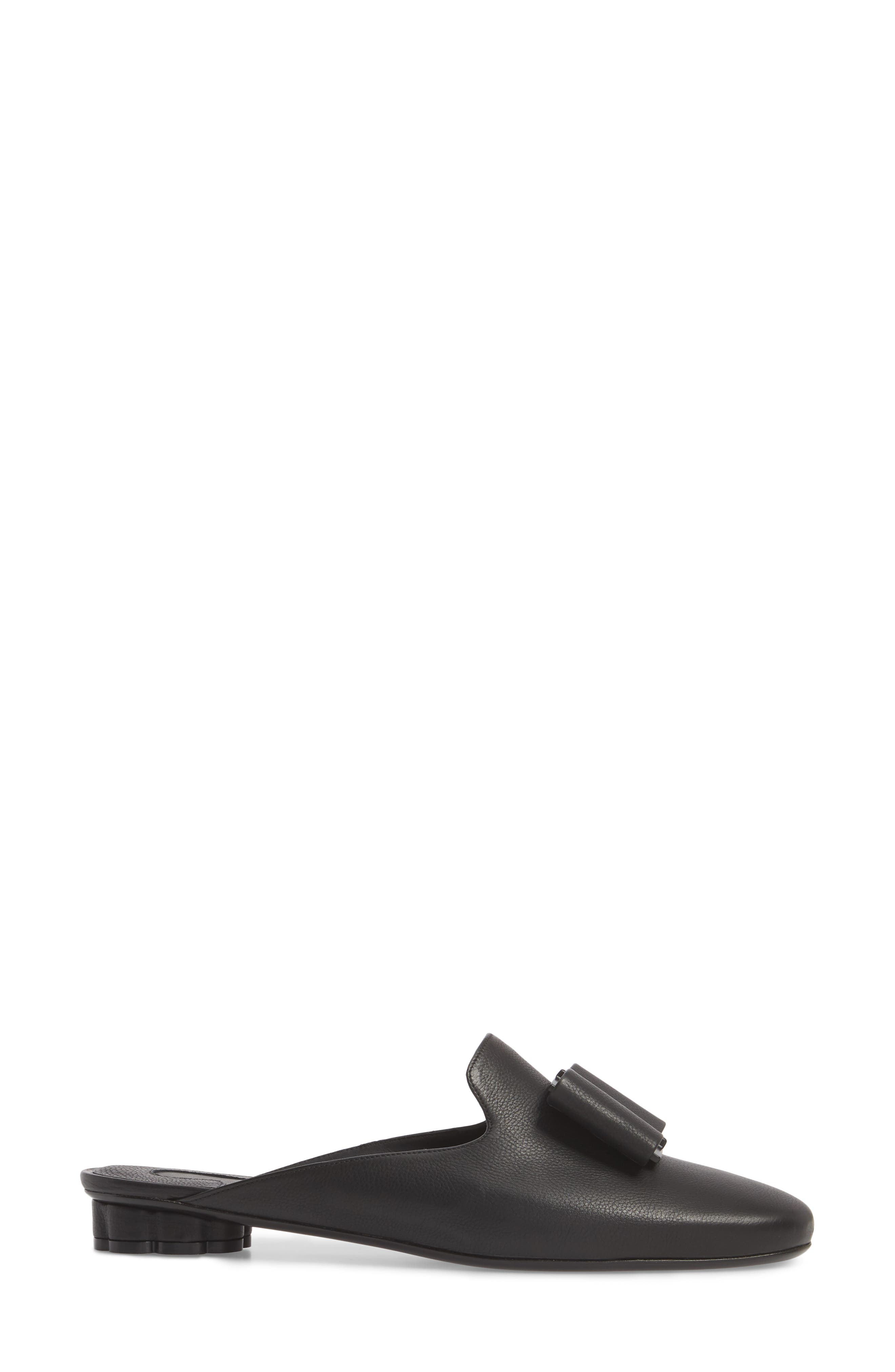 Sciacca Bow Loafer Mule,                             Alternate thumbnail 3, color,                             BLACK