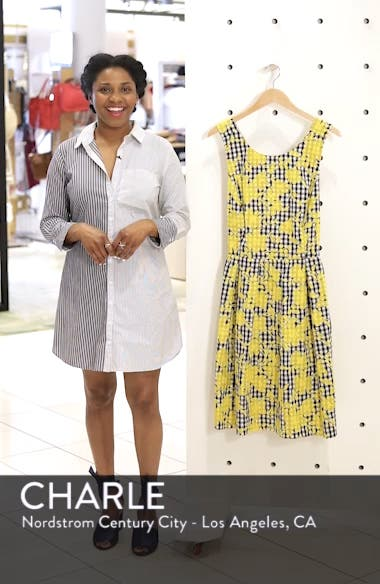 Embroidered Gingham Fit & Flare Dress, sales video thumbnail