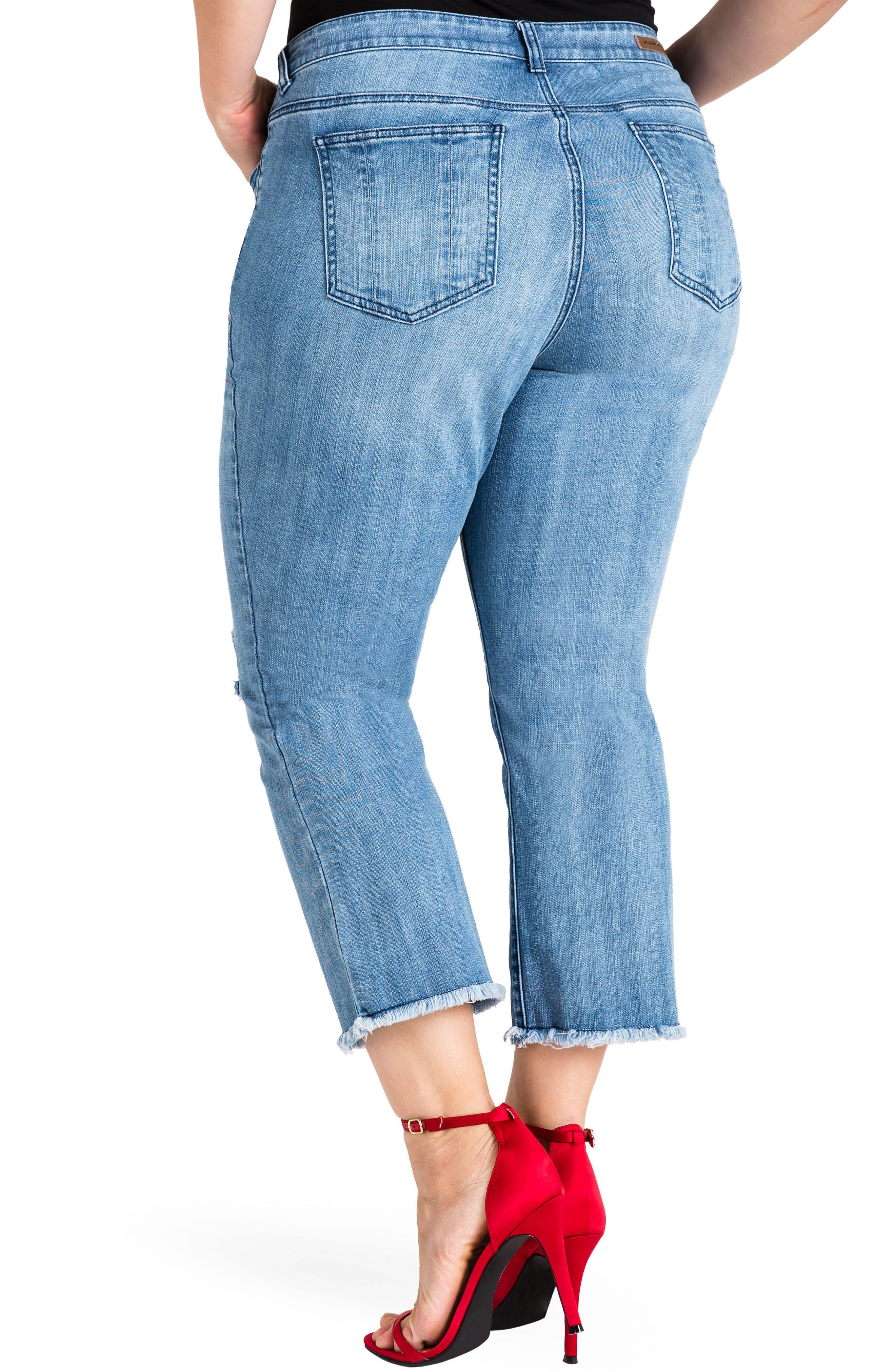 Frayed Crop Flare Jeans,                             Alternate thumbnail 2, color,                             LIGHT BLUE