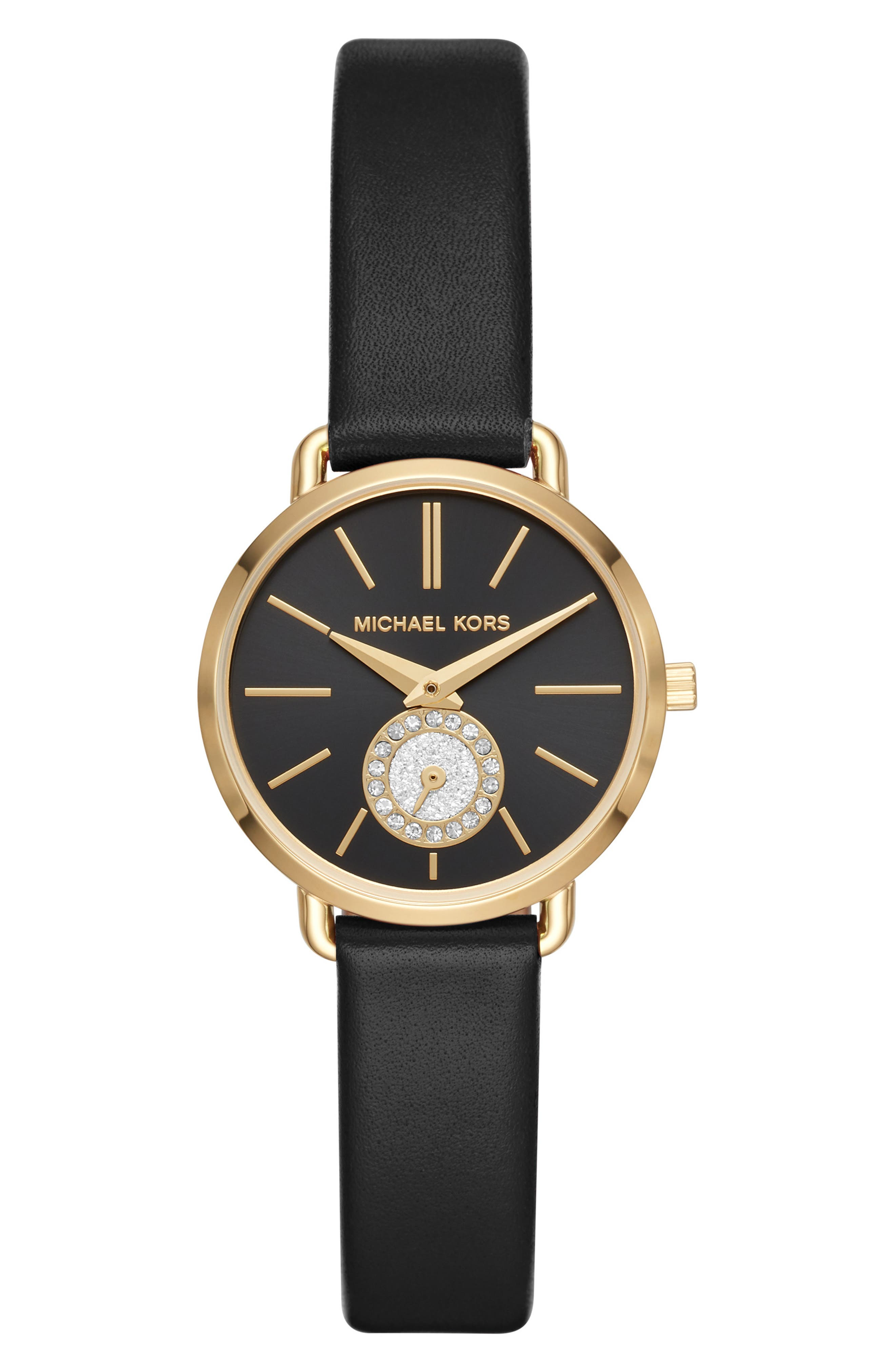 Mini Portia Leather Strap Watch, 28mm,                             Main thumbnail 1, color,                             BLACK/ GOLD