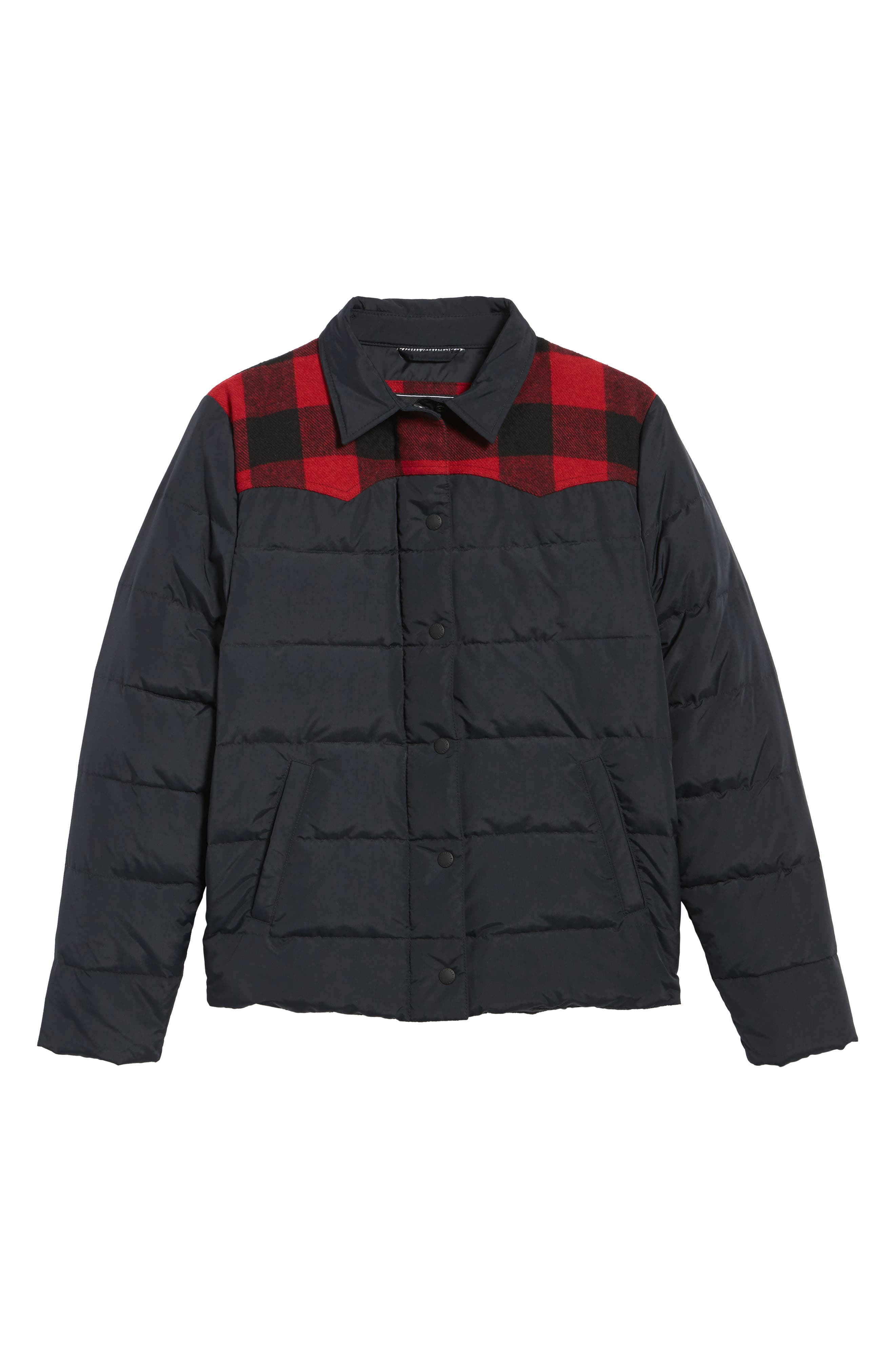Down & Feather Fill Jacket,                             Alternate thumbnail 5, color,                             001