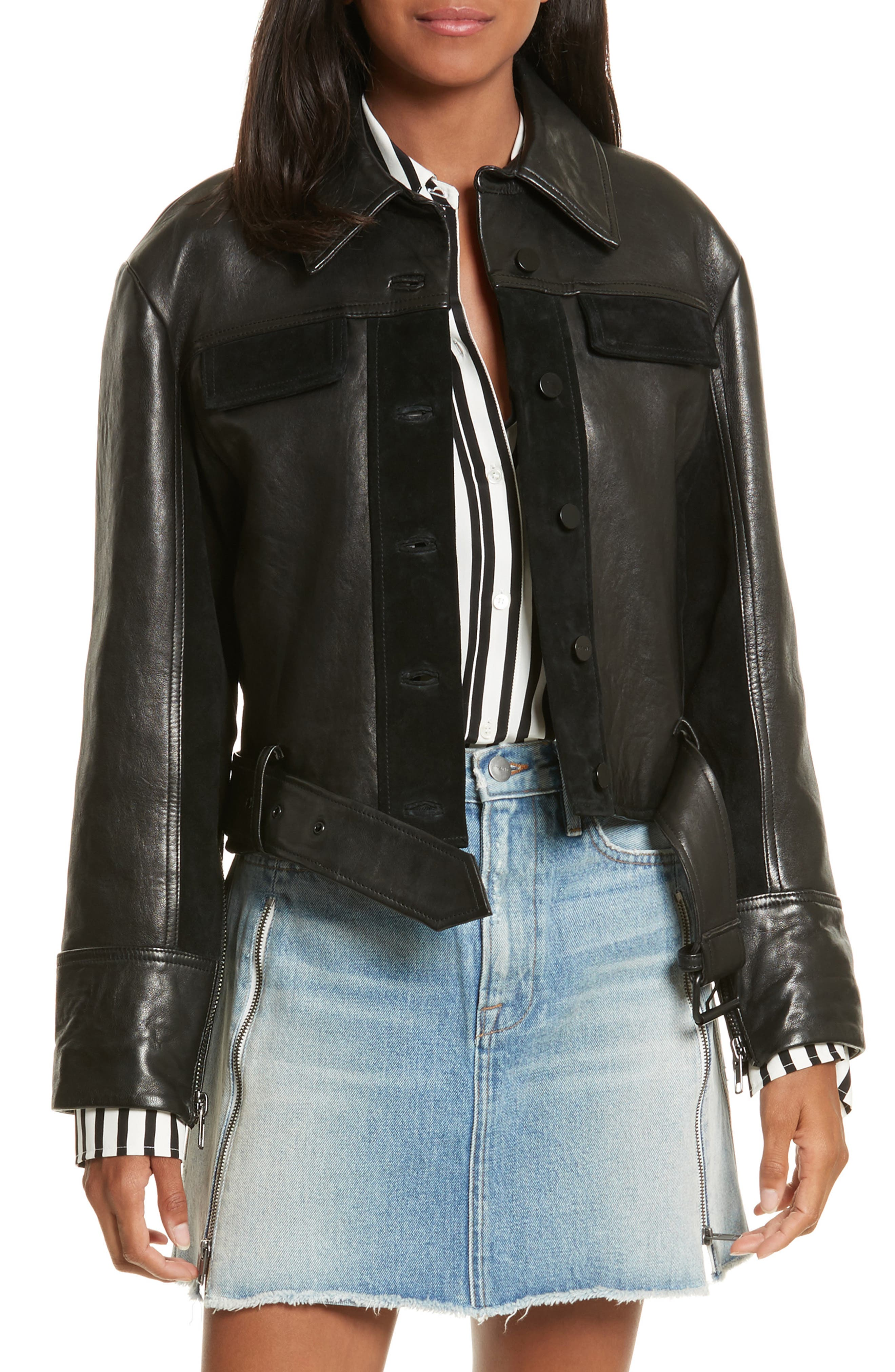 Paneled Leather & Suede Jacket,                         Main,                         color,