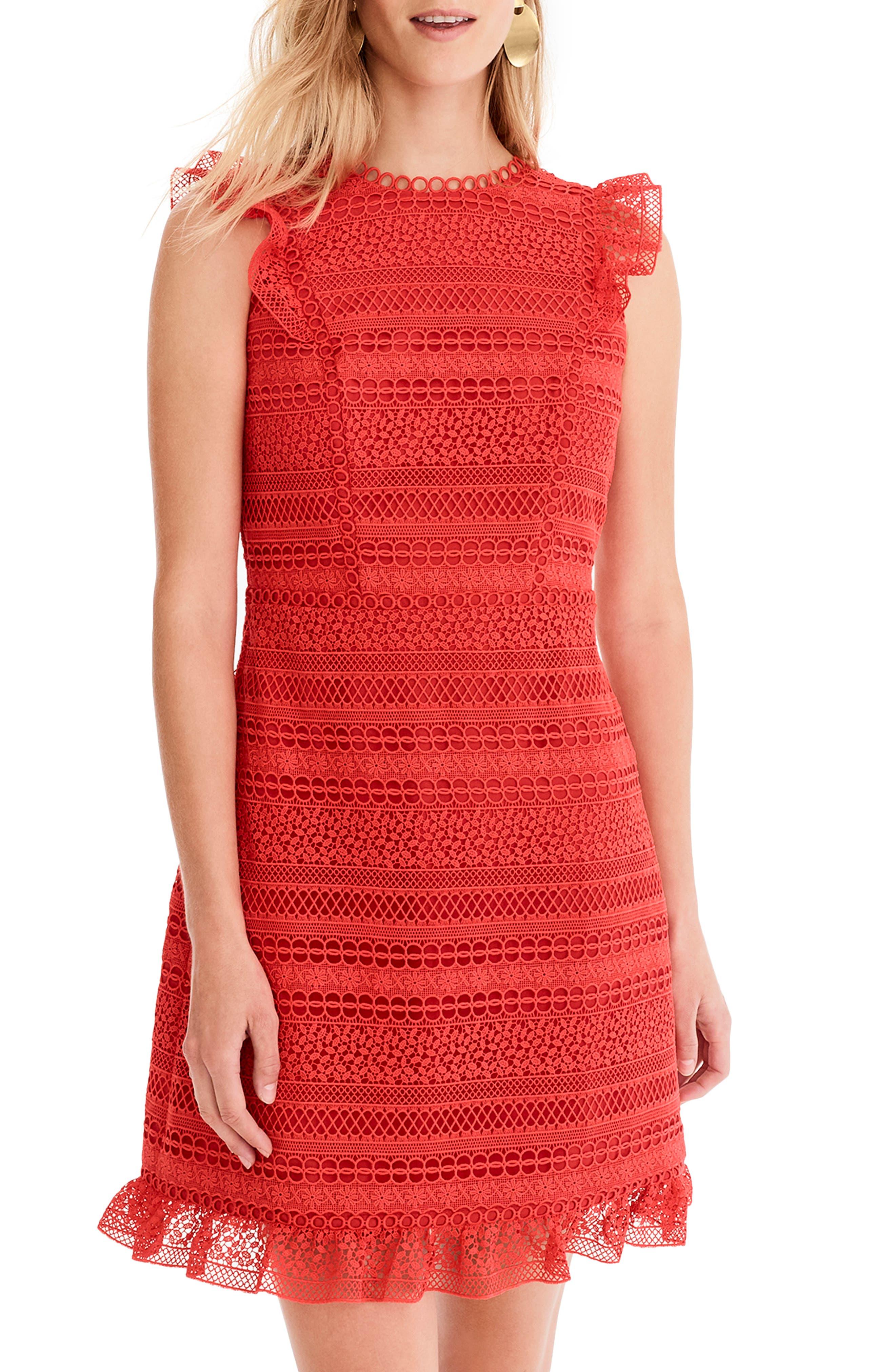 Cap Sleeve Ruffle Lace Dress,                             Main thumbnail 1, color,                             BRIGHT CERISE