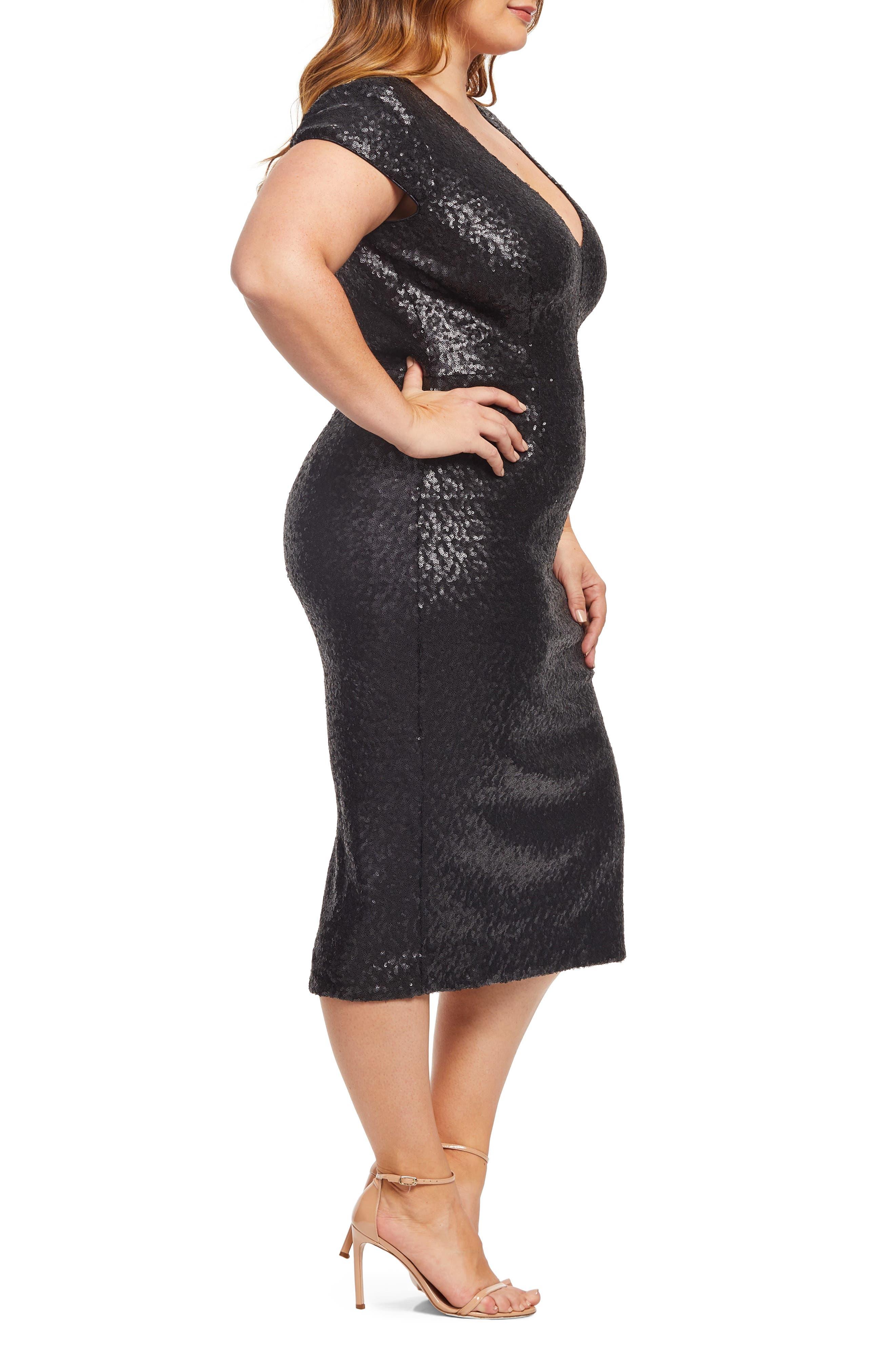Allison Sequin Sheath Dress,                             Alternate thumbnail 3, color,                             MATTE BLACK