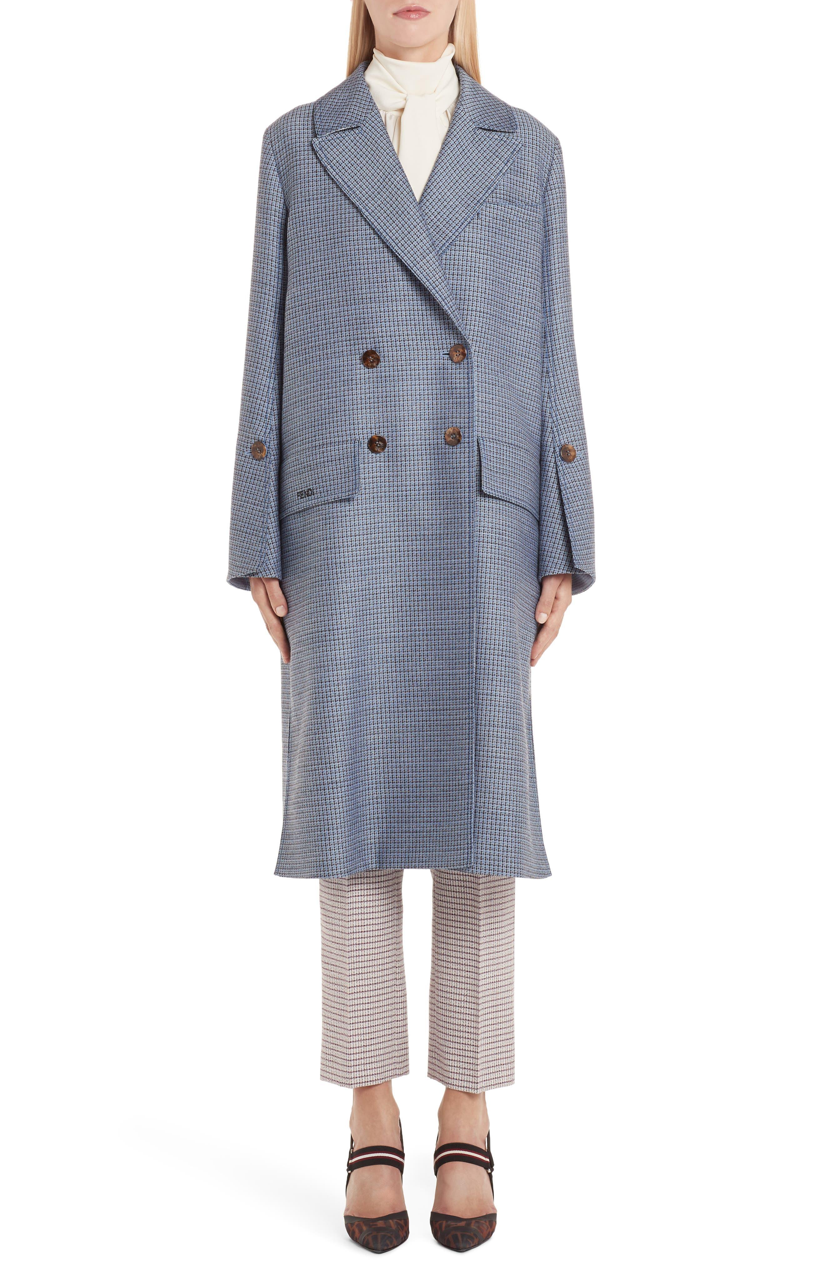 Genuine Mink Fur Collar Wool & Silk Blend Coat,                             Alternate thumbnail 2, color,                             ANTIGUA BLUE