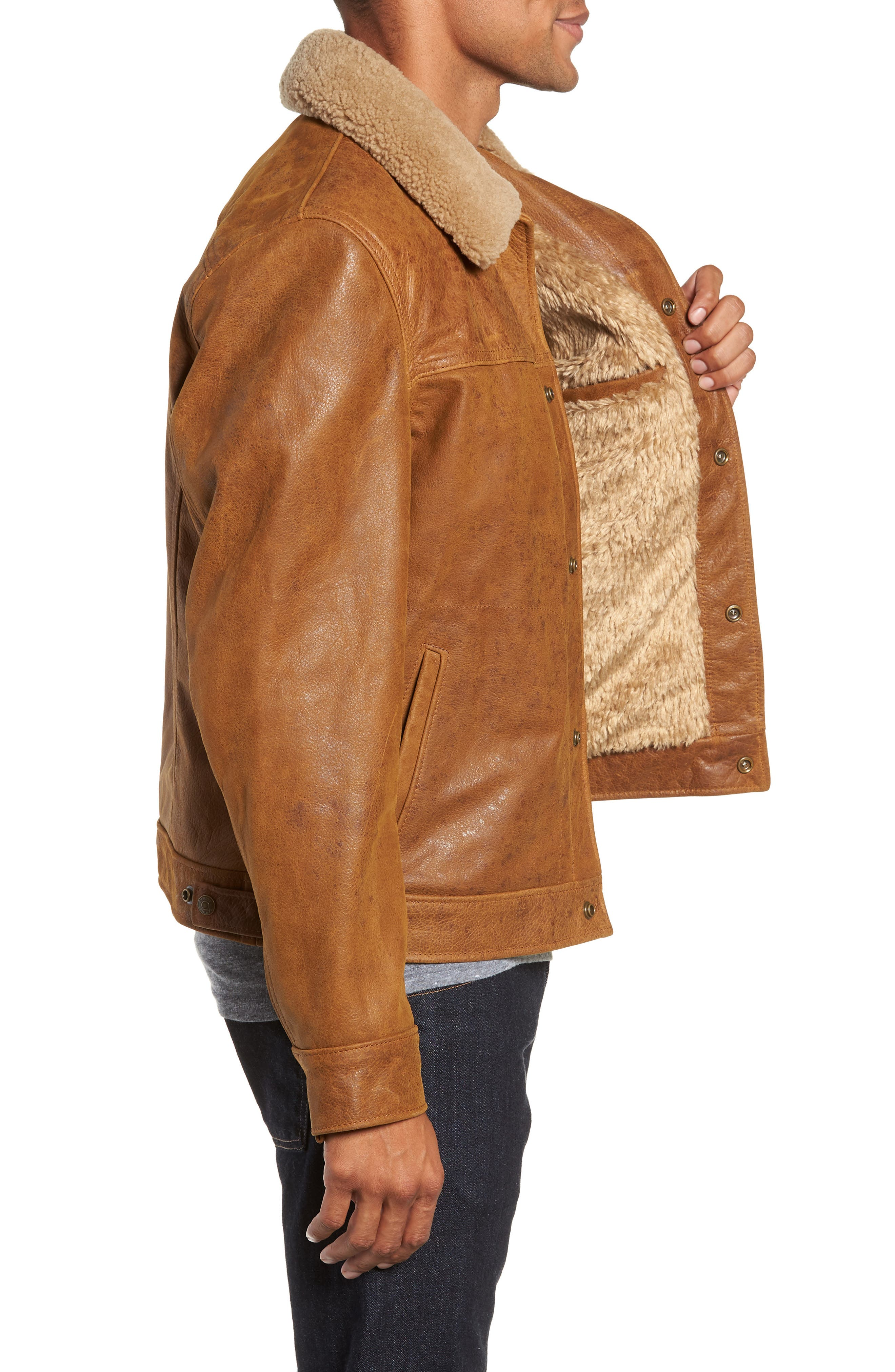 Vintage Buffalo Leather Trucker Jacket with Genuine Sheepskin Collar,                             Alternate thumbnail 3, color,                             SYCAMORE