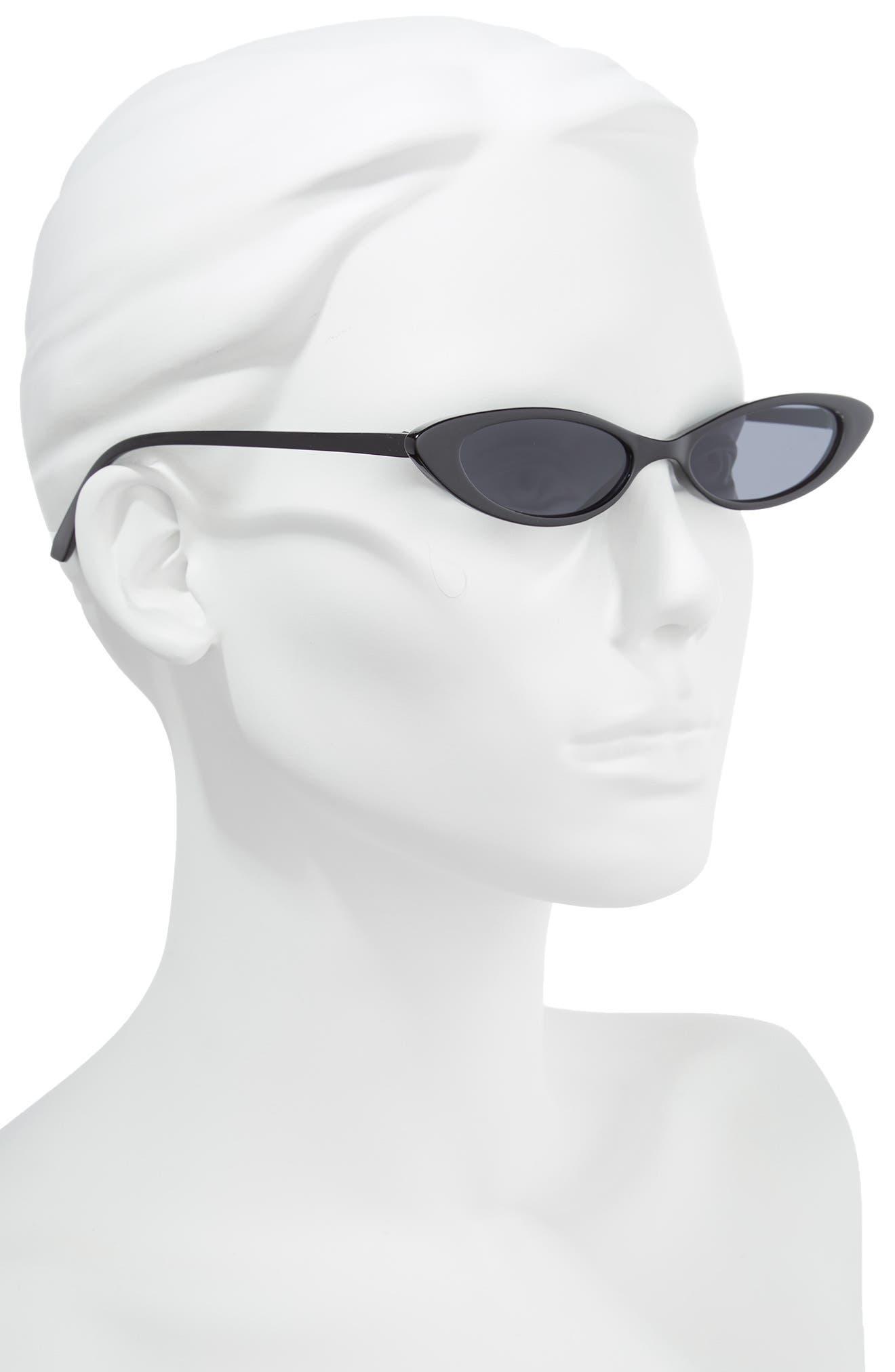 55mm Mini Cat Eye Sunglasses,                             Alternate thumbnail 2, color,                             BLACK