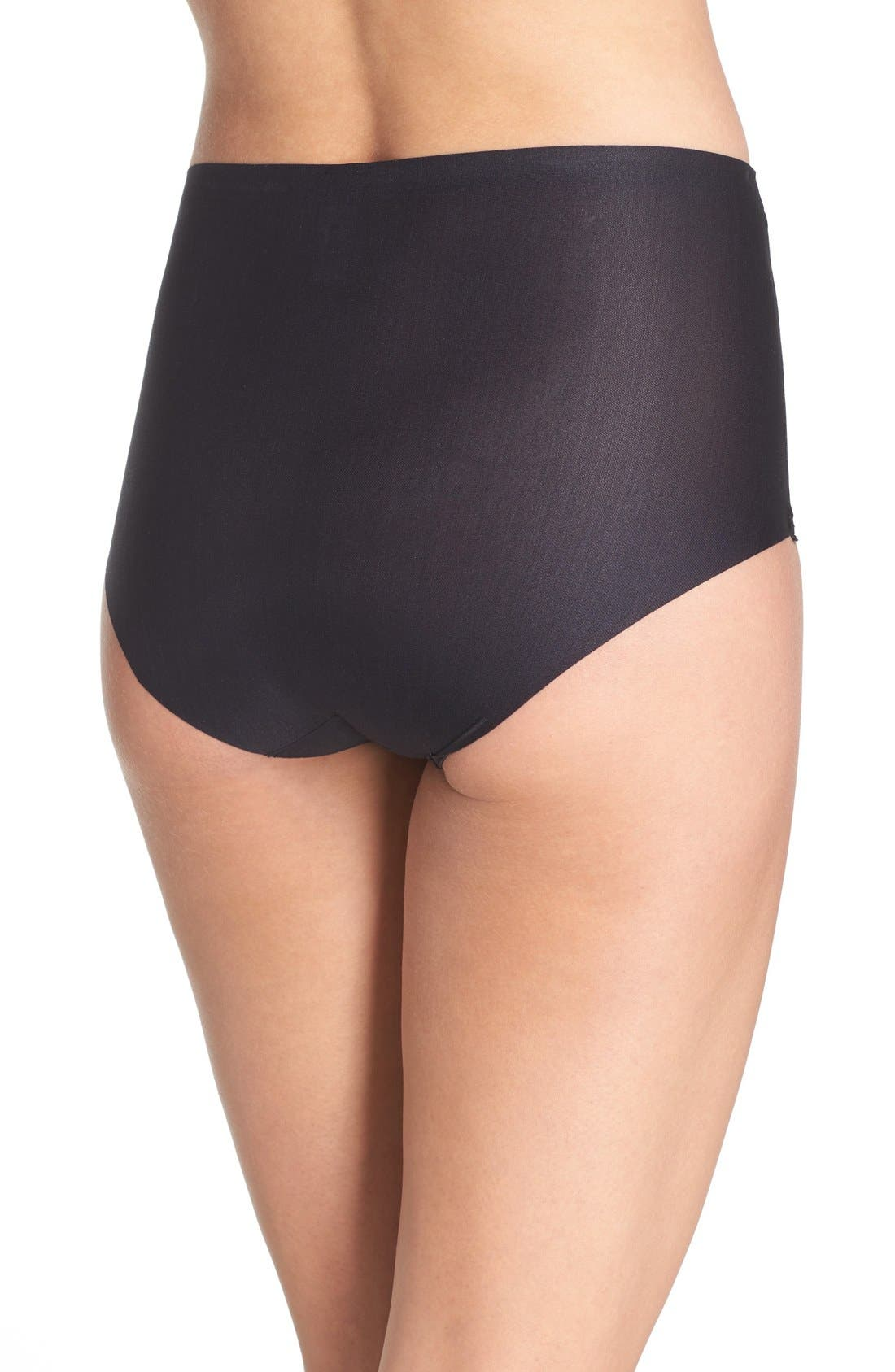 High Waist Smoothing Briefs,                             Alternate thumbnail 3, color,                             BLACK
