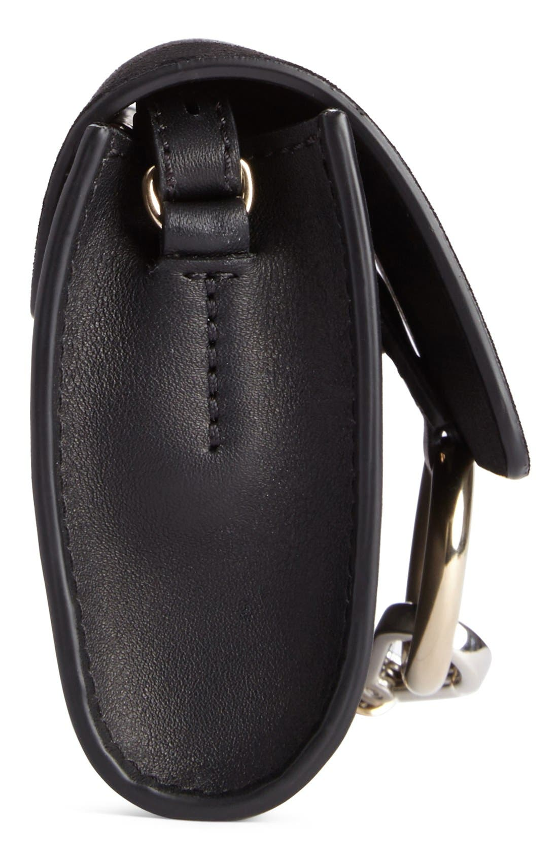 Mini Faye Suede & Leather Wallet on a Chain,                             Alternate thumbnail 8, color,                             BLACK