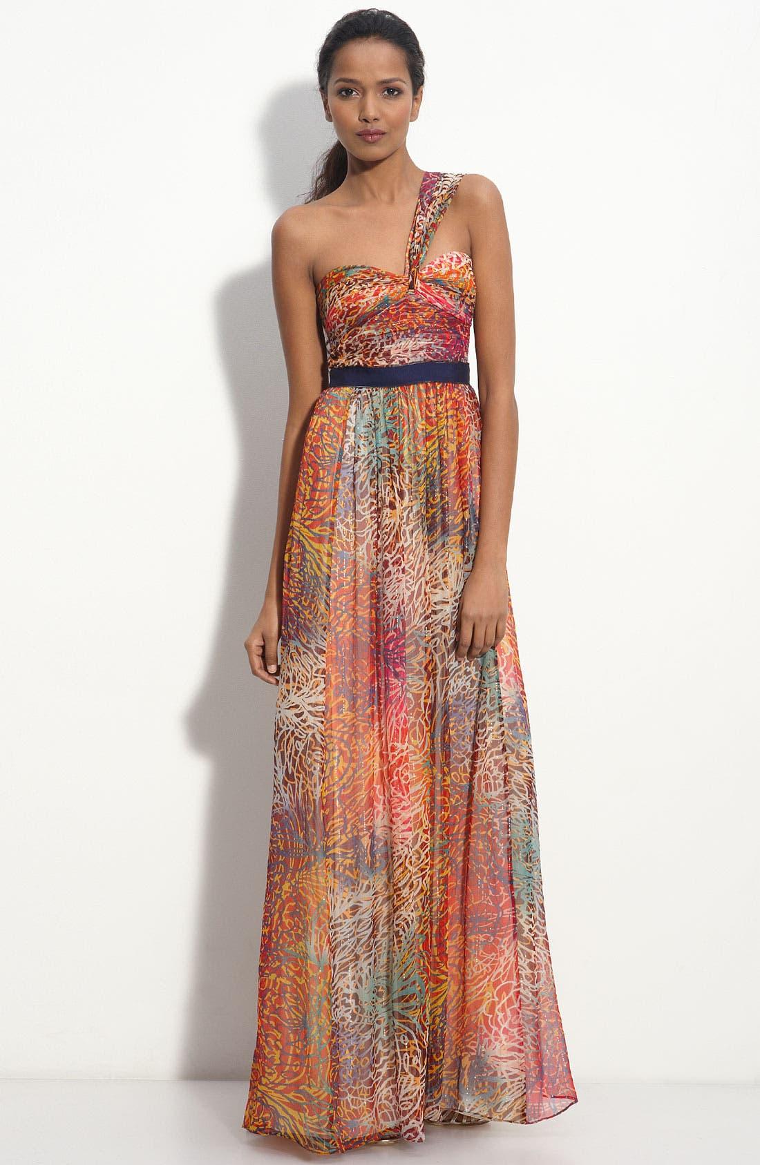 One Shoulder Metallic Chiffon Gown,                         Main,                         color, 664