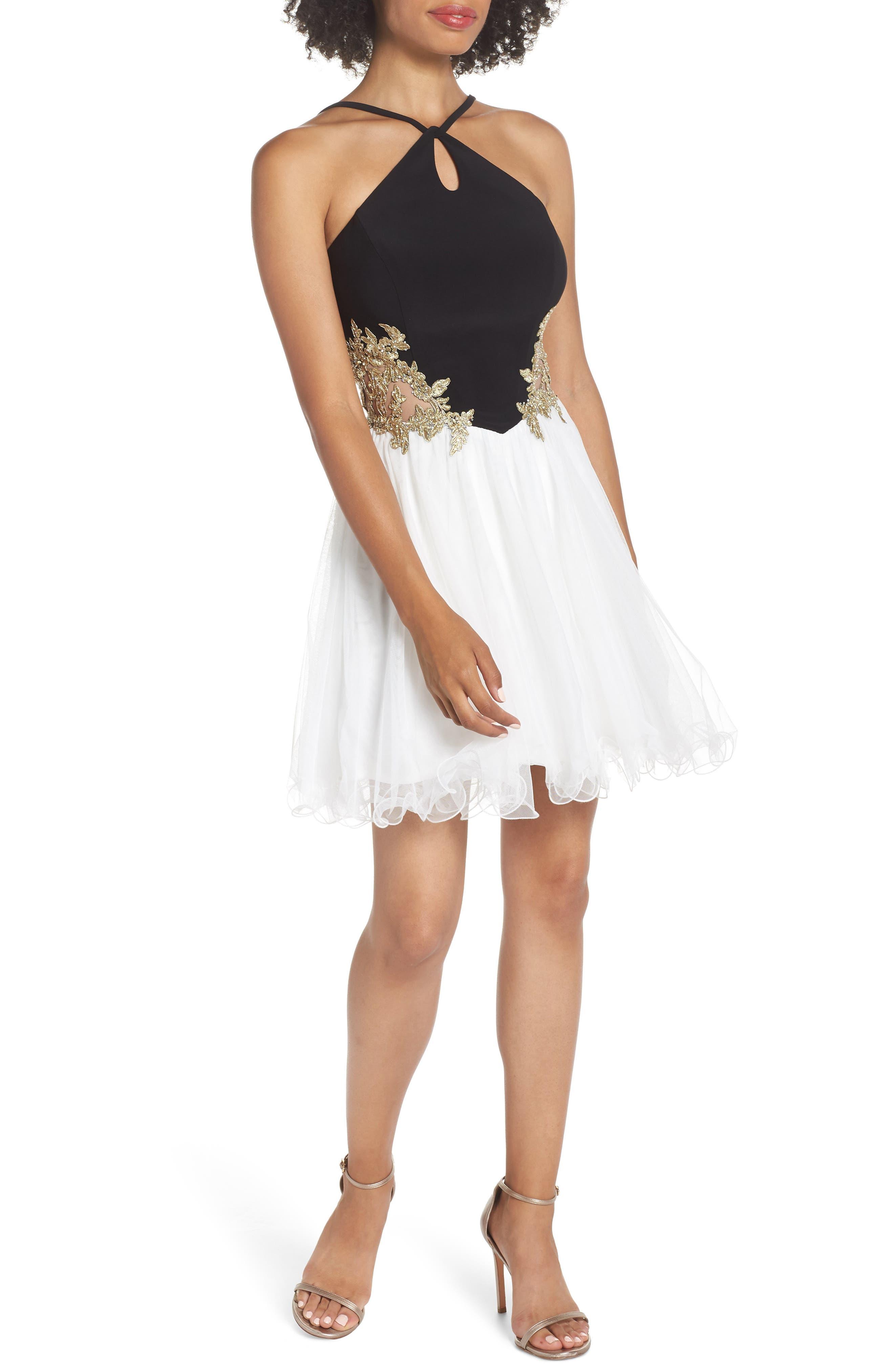 Blondie Nites Loop Keyhole Applique Fit & Flare Dress, Black