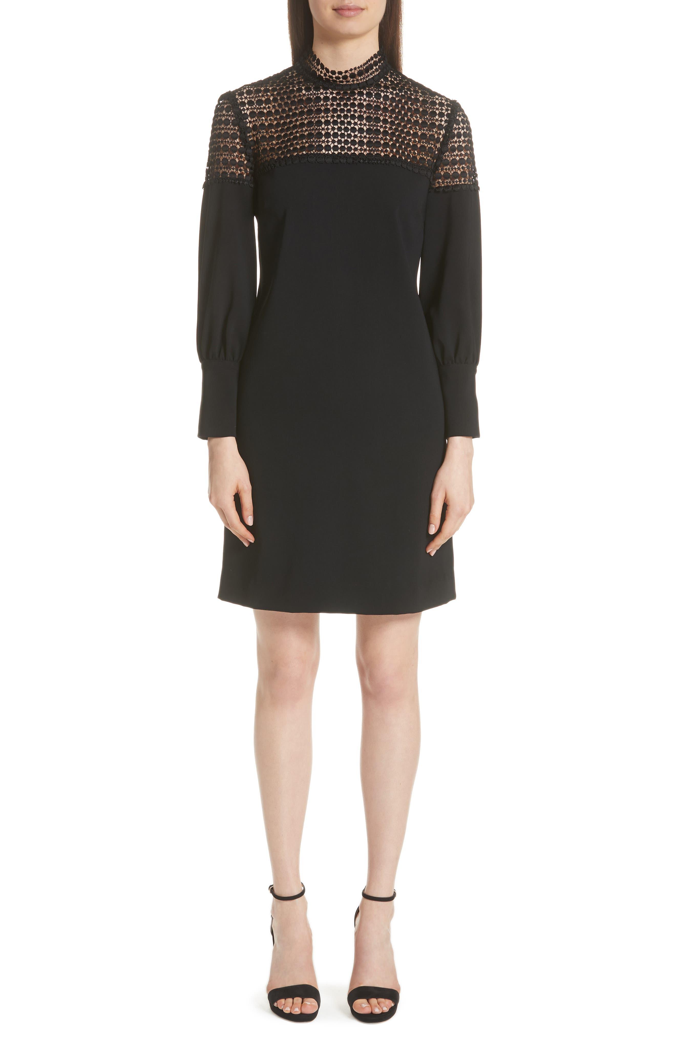 Lela Rose Dot Lace Yoke Dress, Black