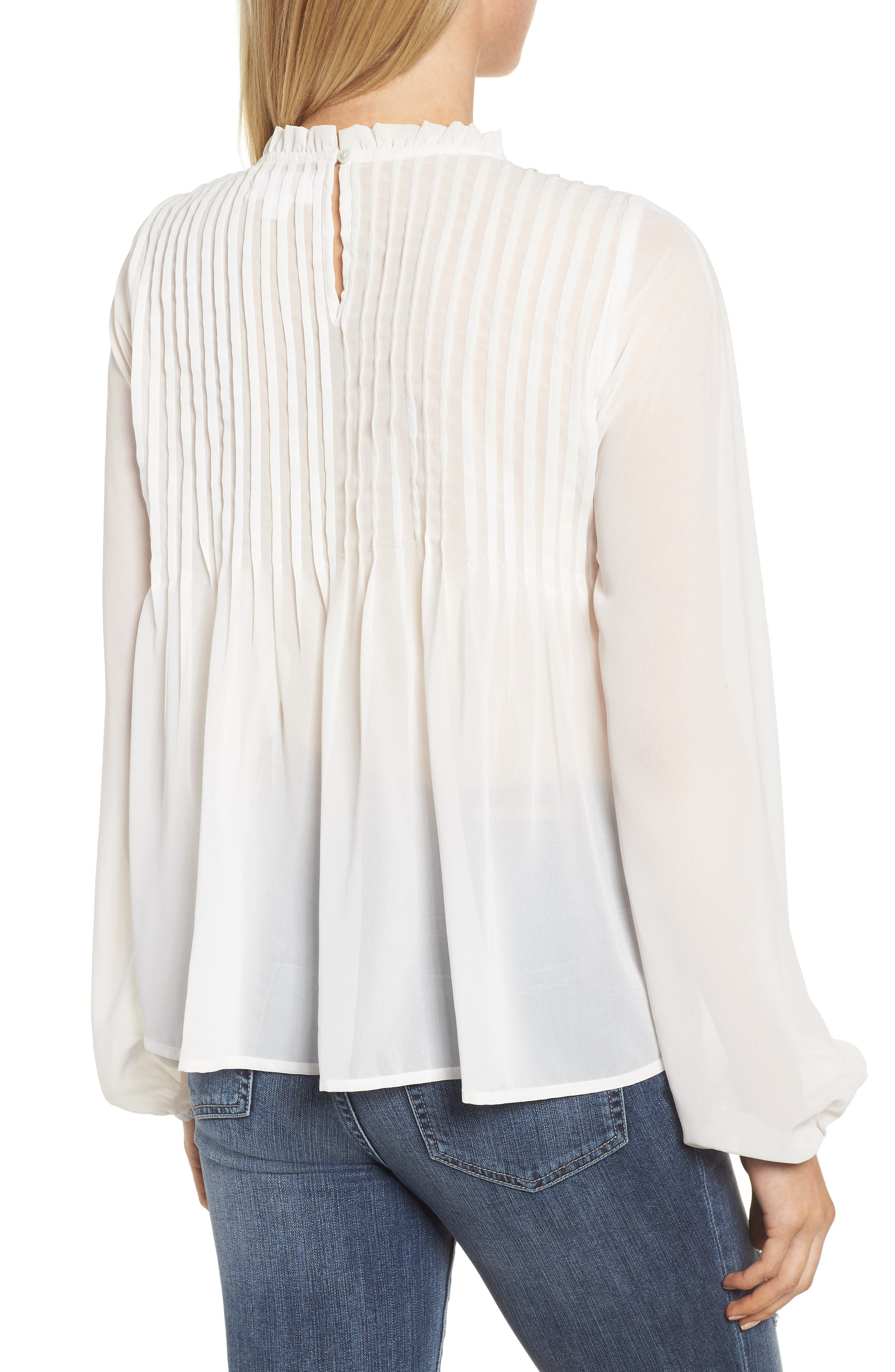 Pintucked Chiffon Blouse,                             Alternate thumbnail 2, color,                             OFF WHITE