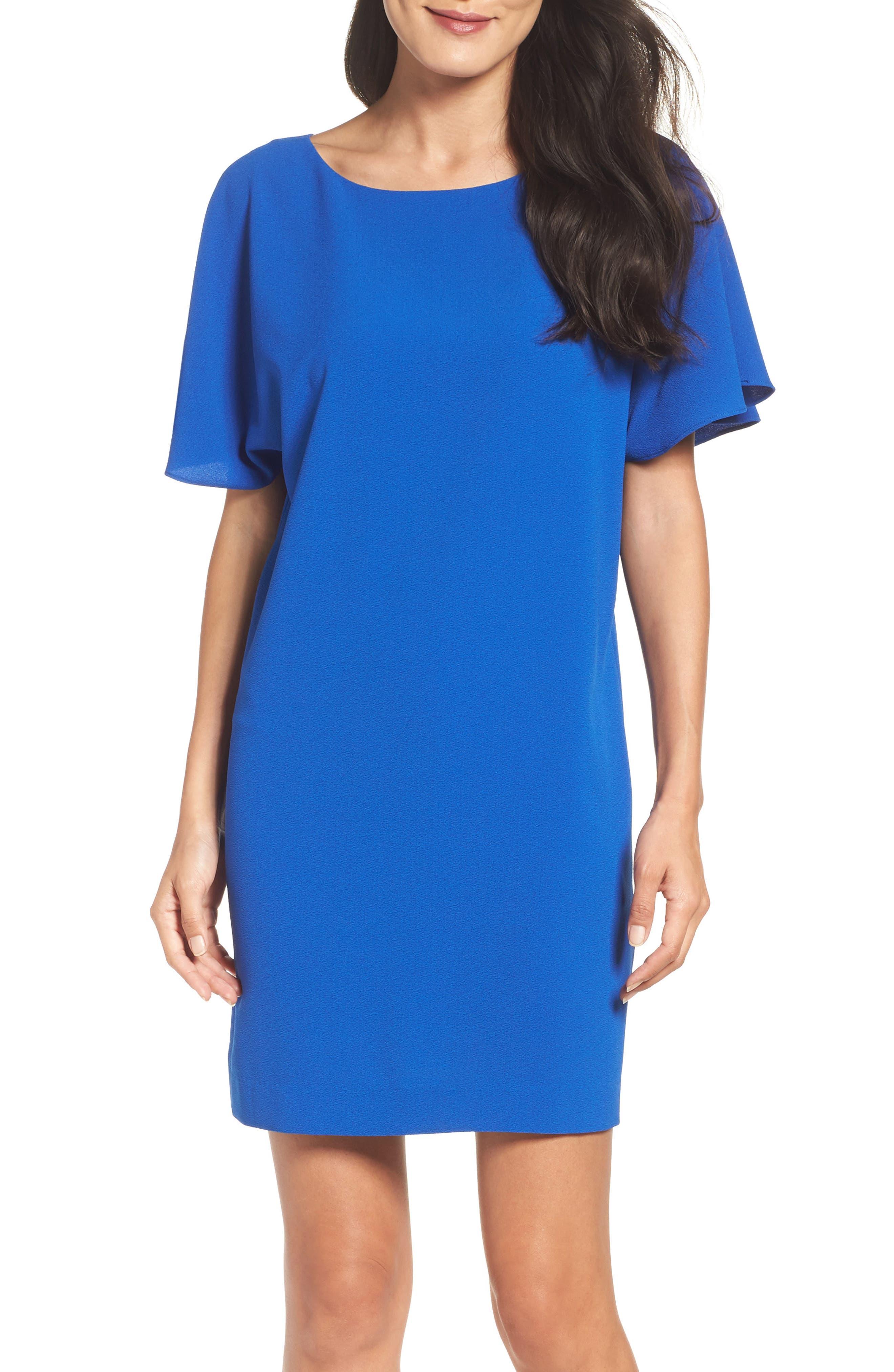 Talia Ruffle Back Shift Dress,                             Alternate thumbnail 5, color,                             425