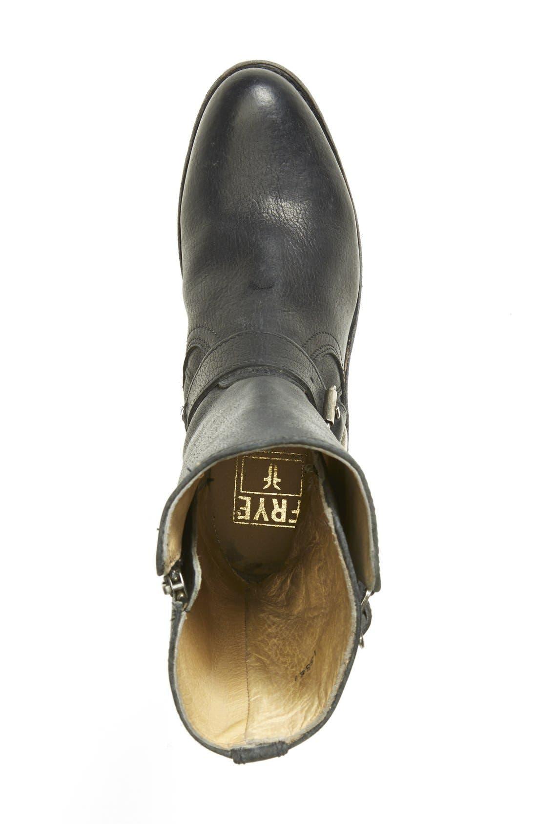 'Jayden' Leather Moto Boot,                             Alternate thumbnail 3, color,                             001