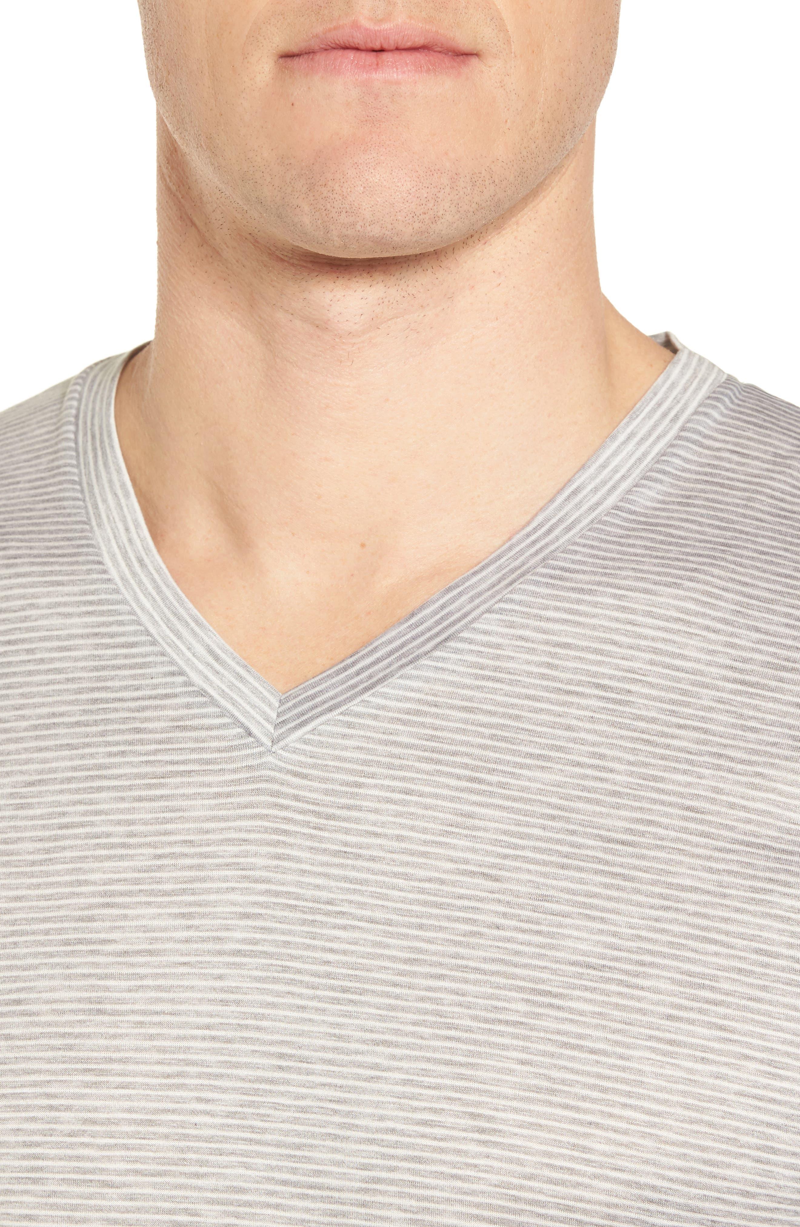 Sporty Stripe Cotton V-Neck T-Shirt,                             Alternate thumbnail 4, color,                             MELANGE STRIPE