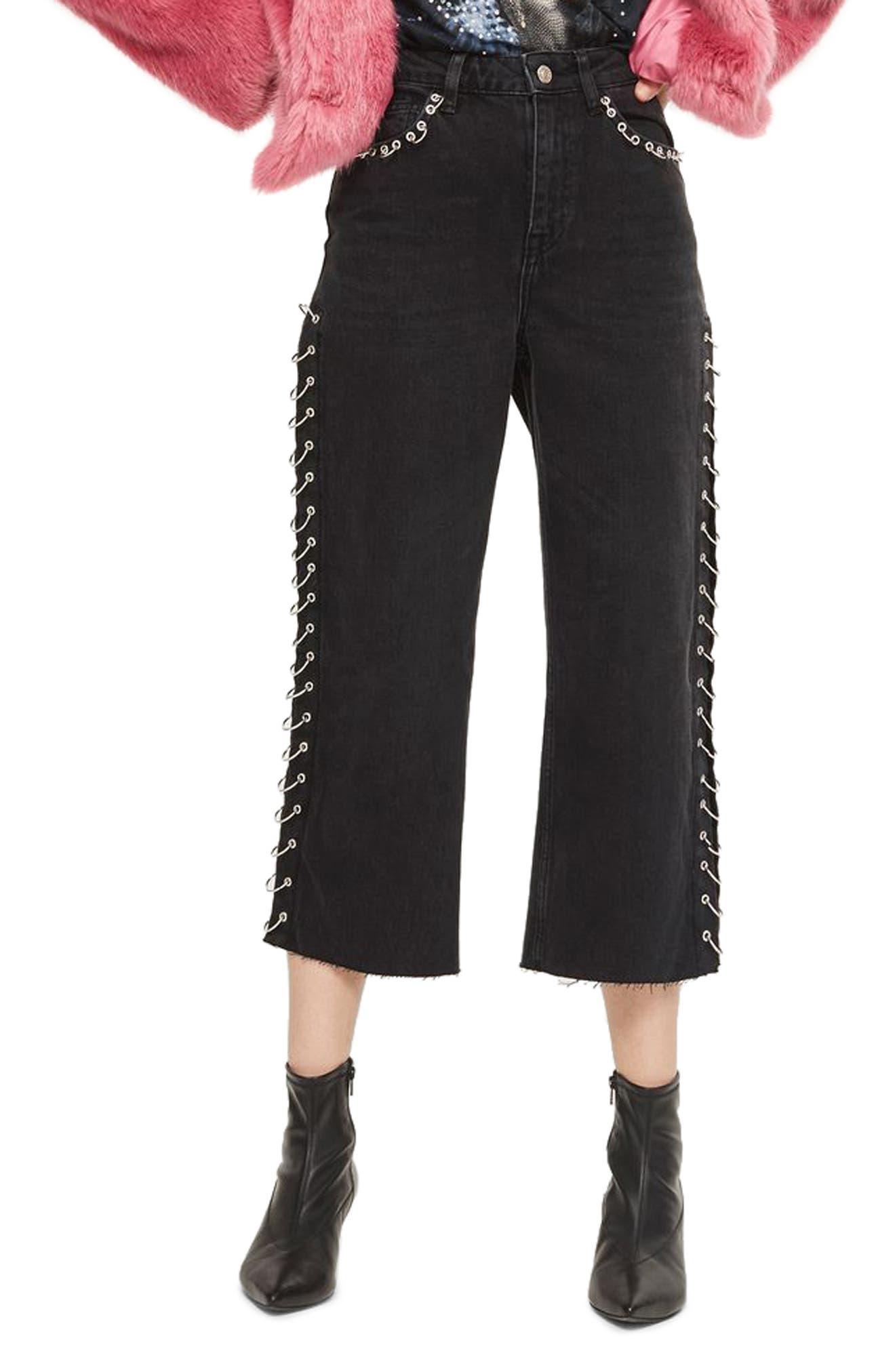 Pierced Crop Wide Leg Jeans,                             Main thumbnail 1, color,                             001