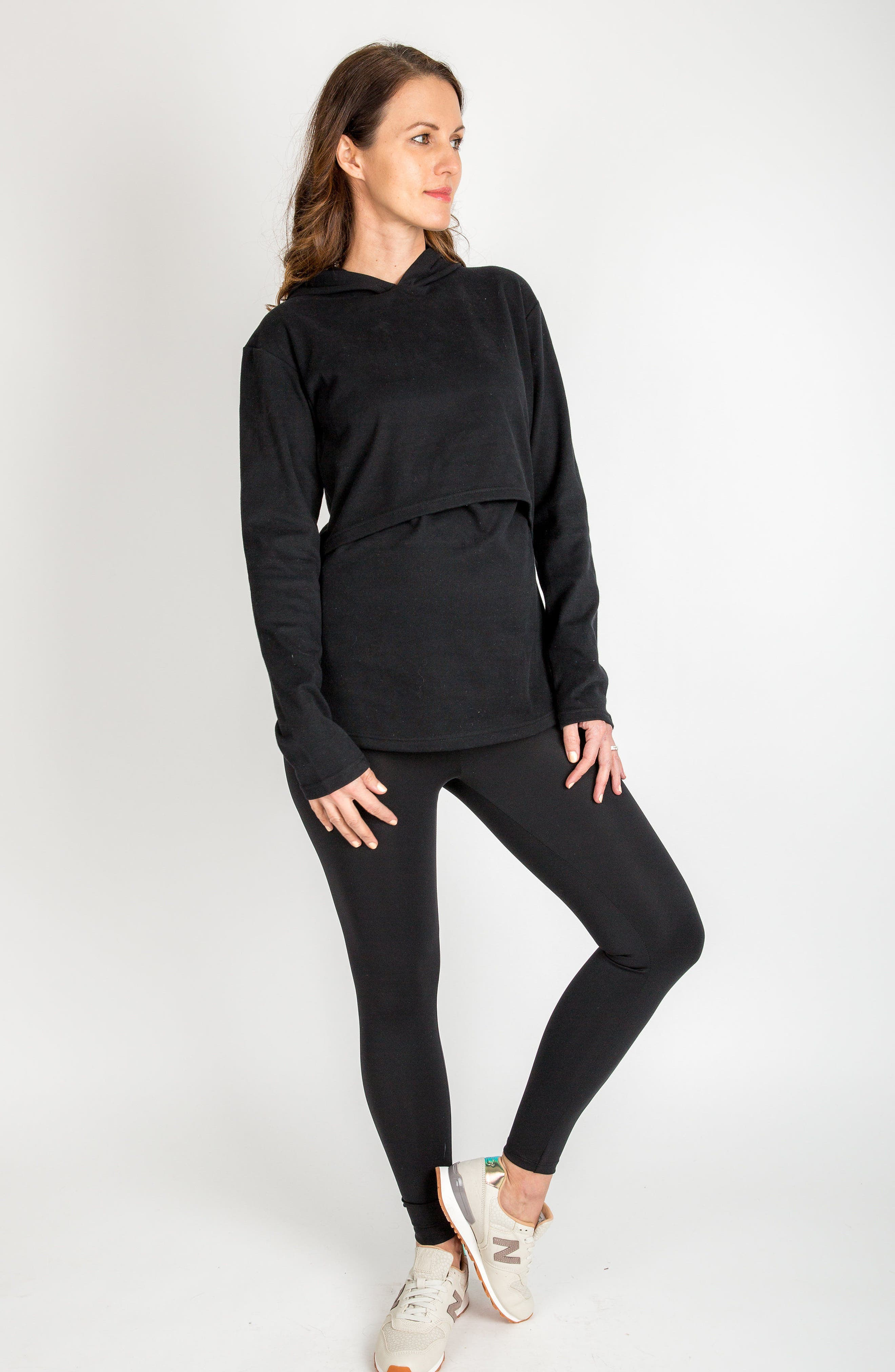 Rory Maternity/Nursing Hoodie,                             Alternate thumbnail 5, color,                             BLACK