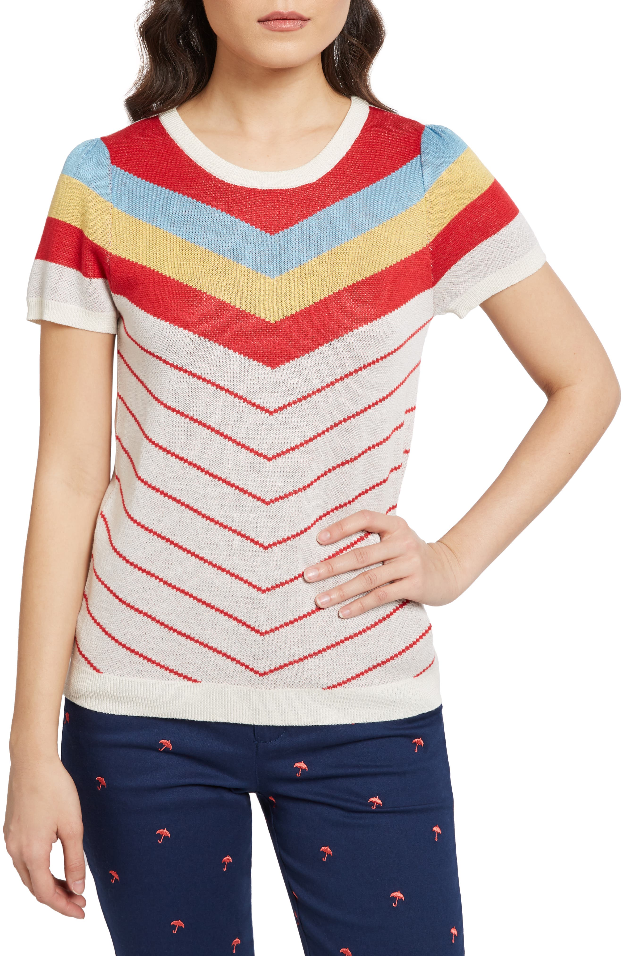 70s Outfits – 70s Style Ideas for Women Womens Modcloth Vintage Stripe Sweater $55.00 AT vintagedancer.com