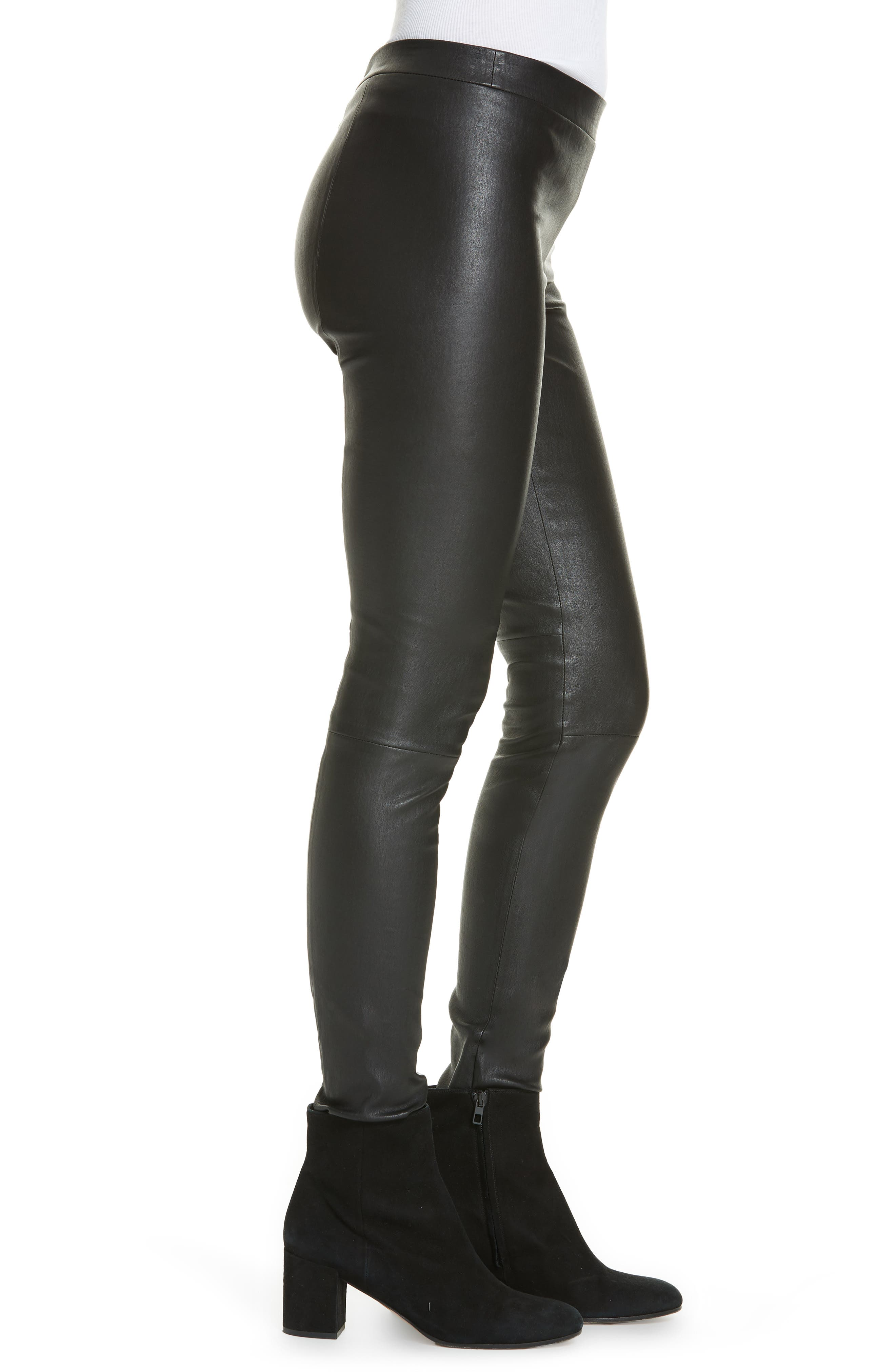 Leather Zip Leggings,                             Alternate thumbnail 3, color,                             BLACK