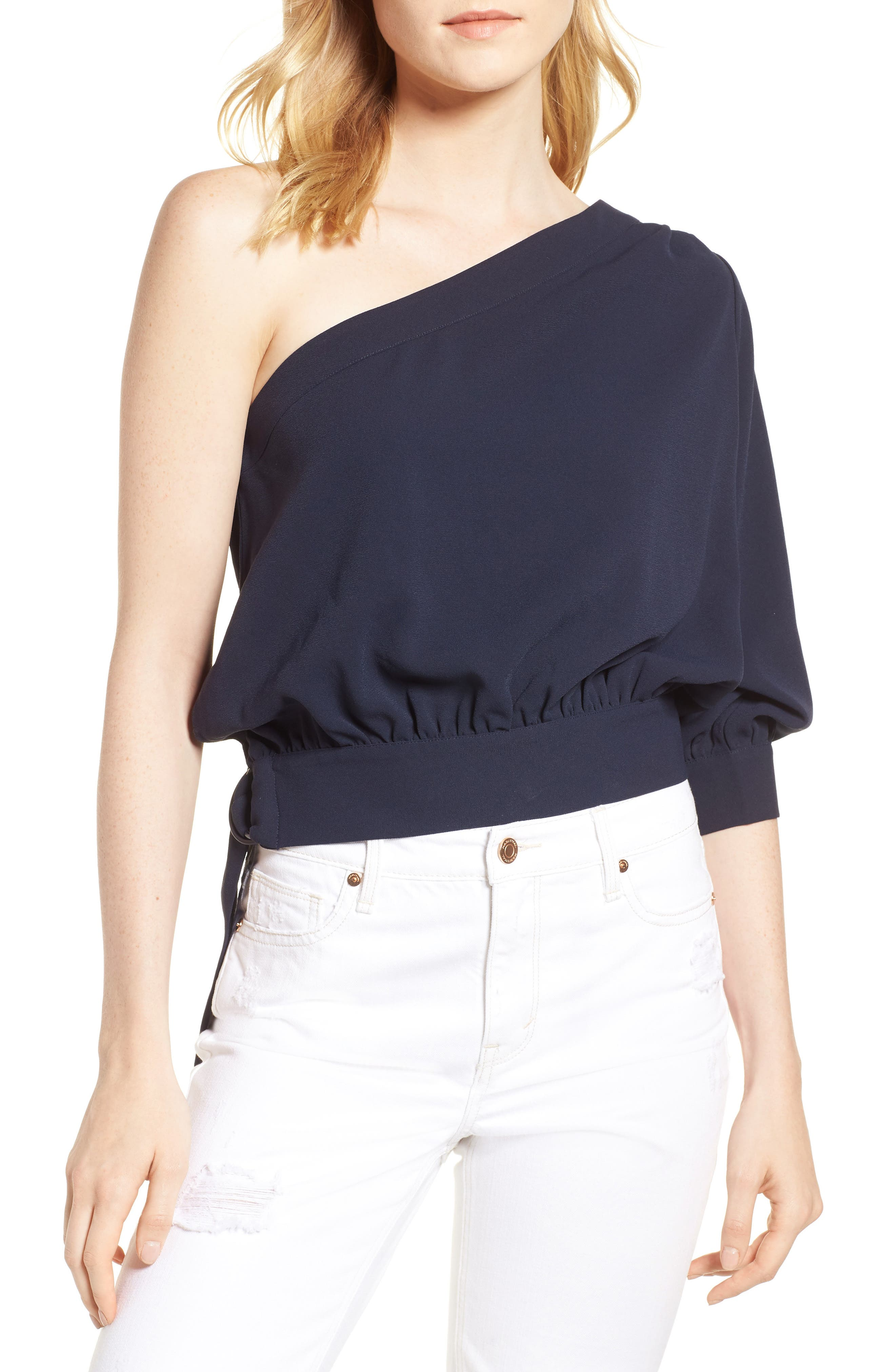 Mia One-Shoulder Side Tie Top,                             Main thumbnail 1, color,                             NIGHT SKY