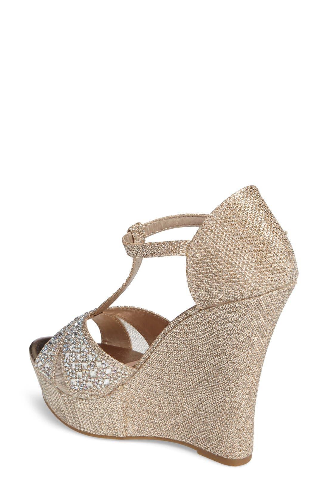 Ness Crystal Embellished Wedge Sandal,                             Alternate thumbnail 9, color,